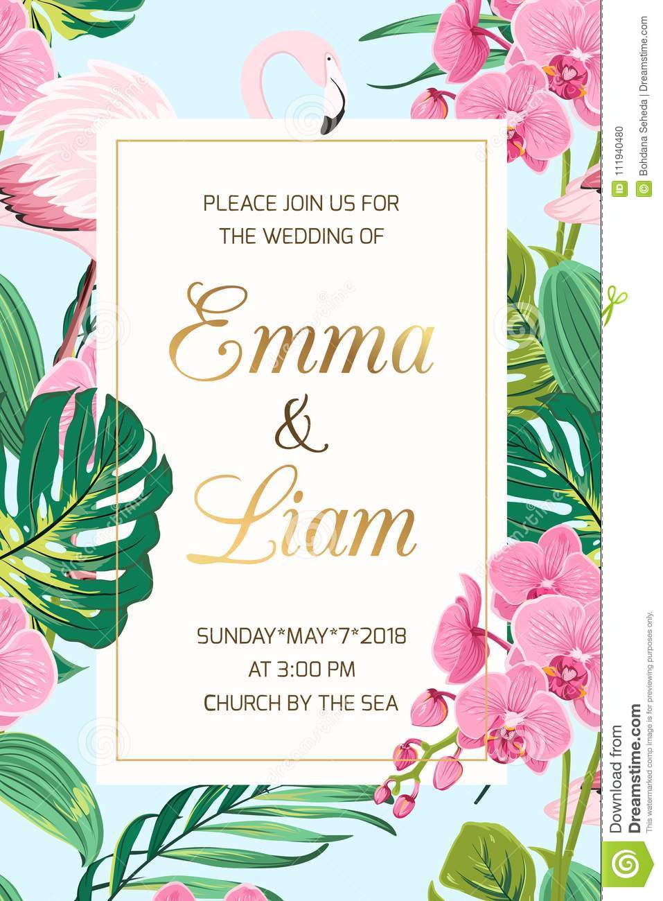 Wedding Invitation Tropical Leaves Orchid Flamingo Stock Vector ...