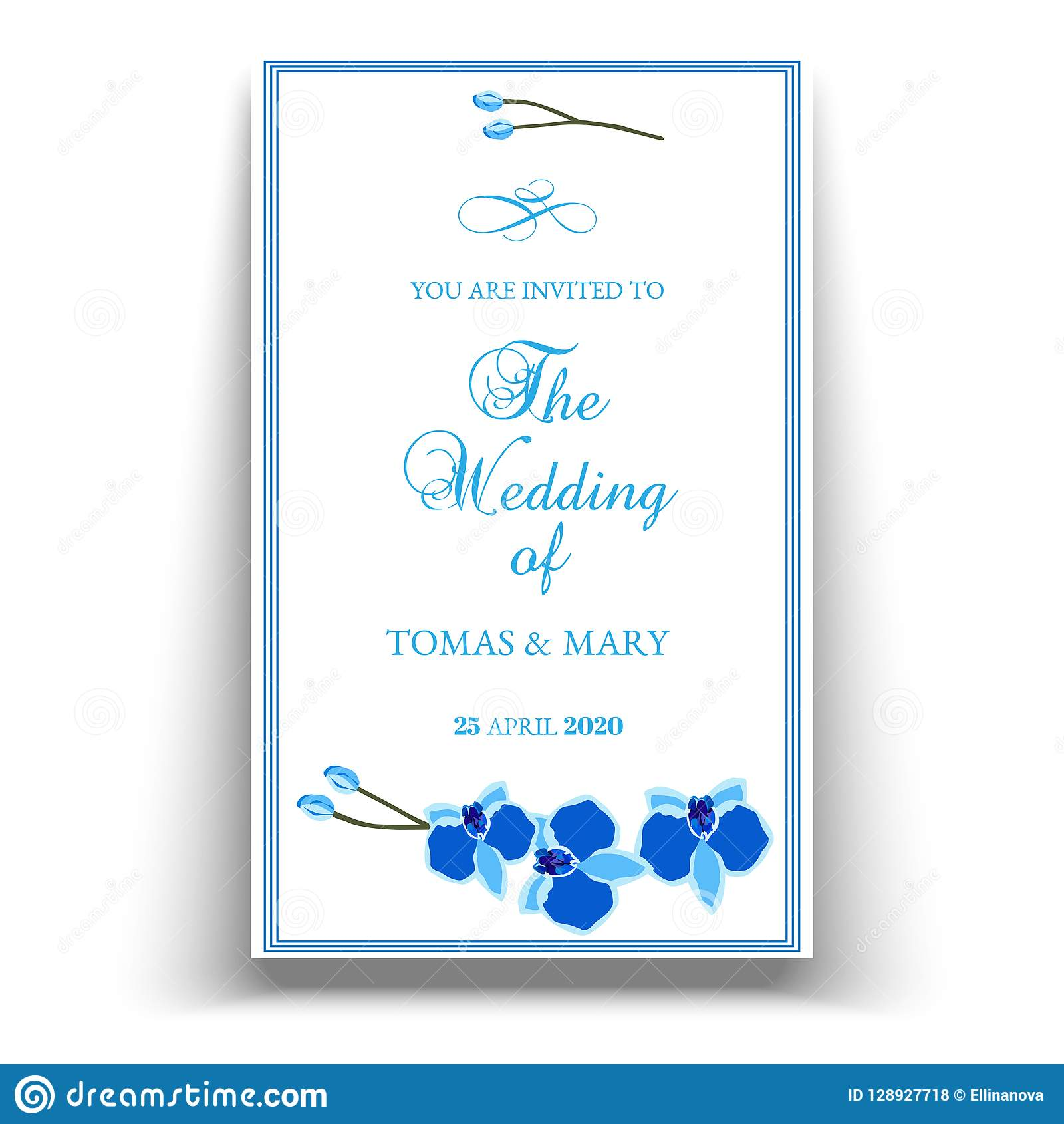 Wedding Marriage Event Invitation Template With Blue Orchid Stock