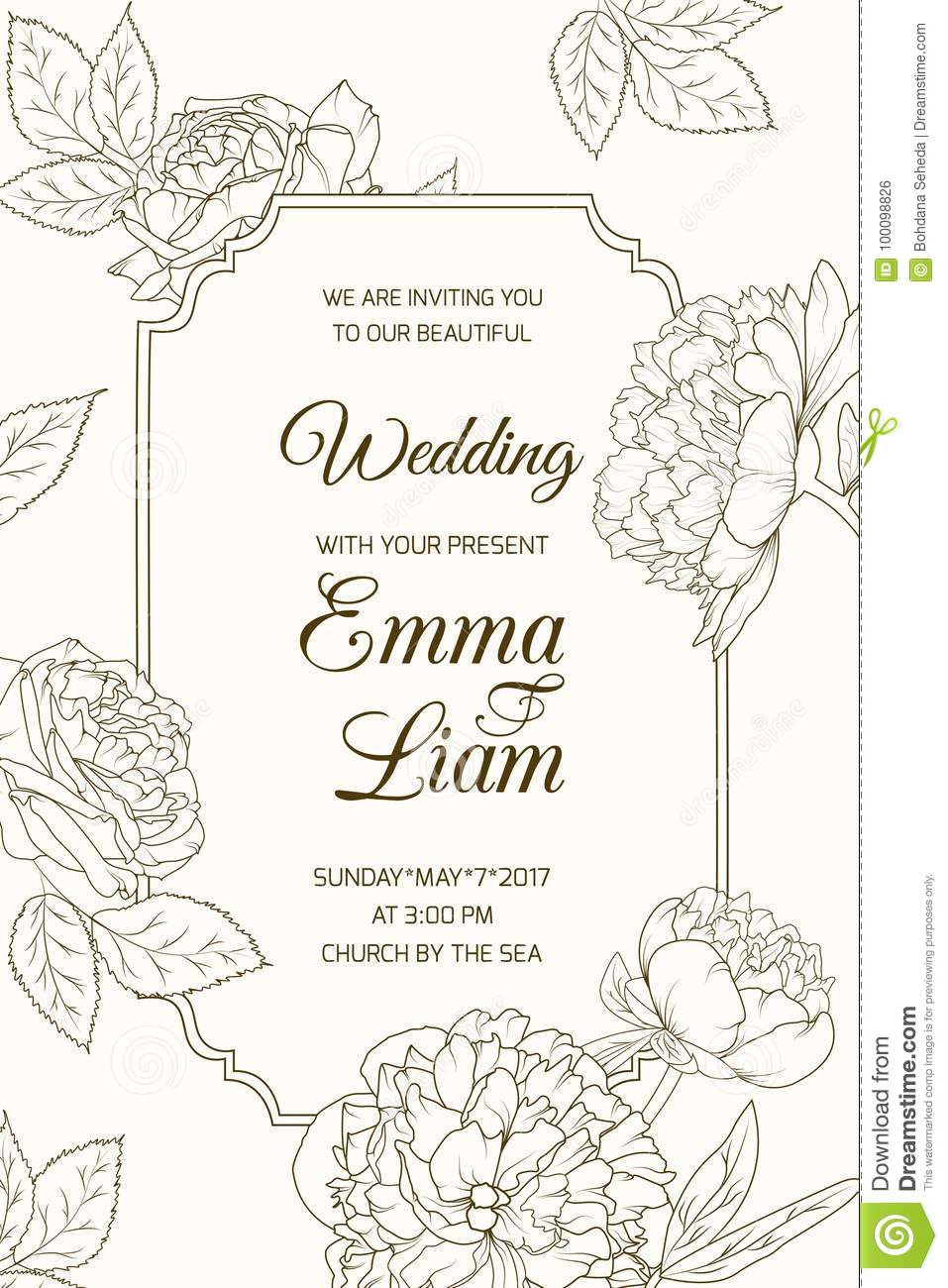 wedding invitation card template rose peony flower stock vector