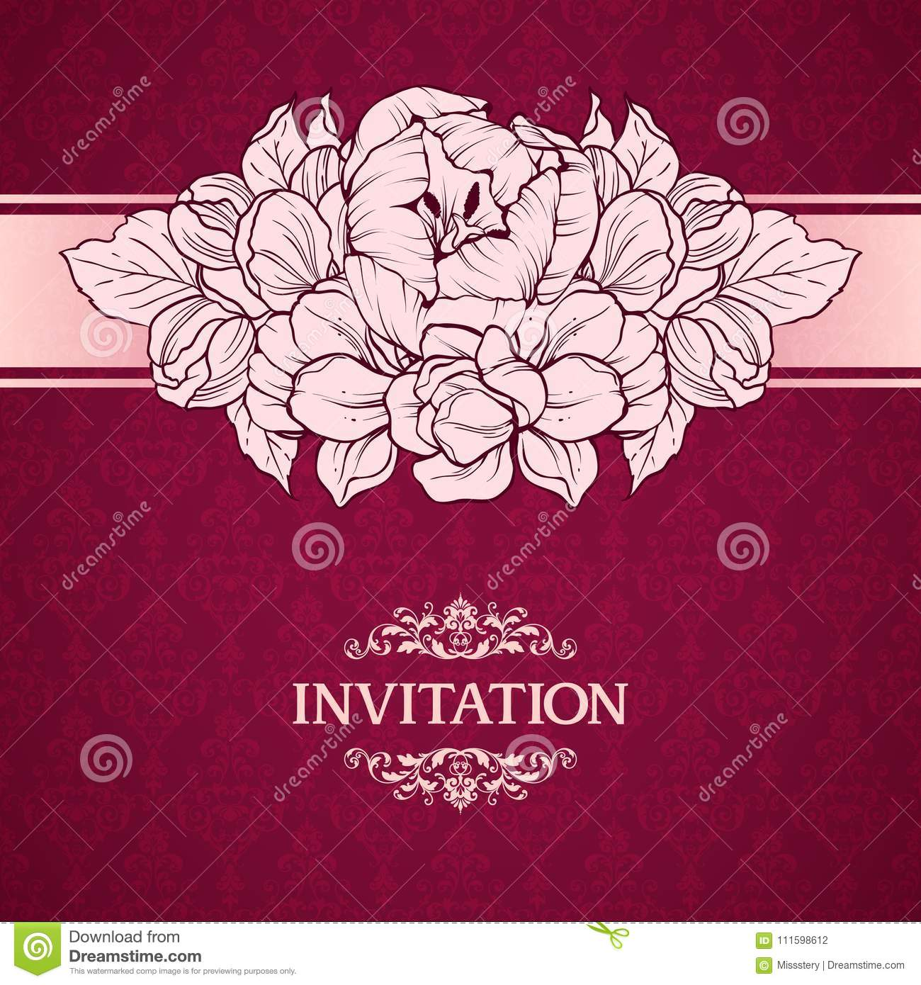 Wedding Marriage Invitation With Linear Flowers On Ornate Background ...