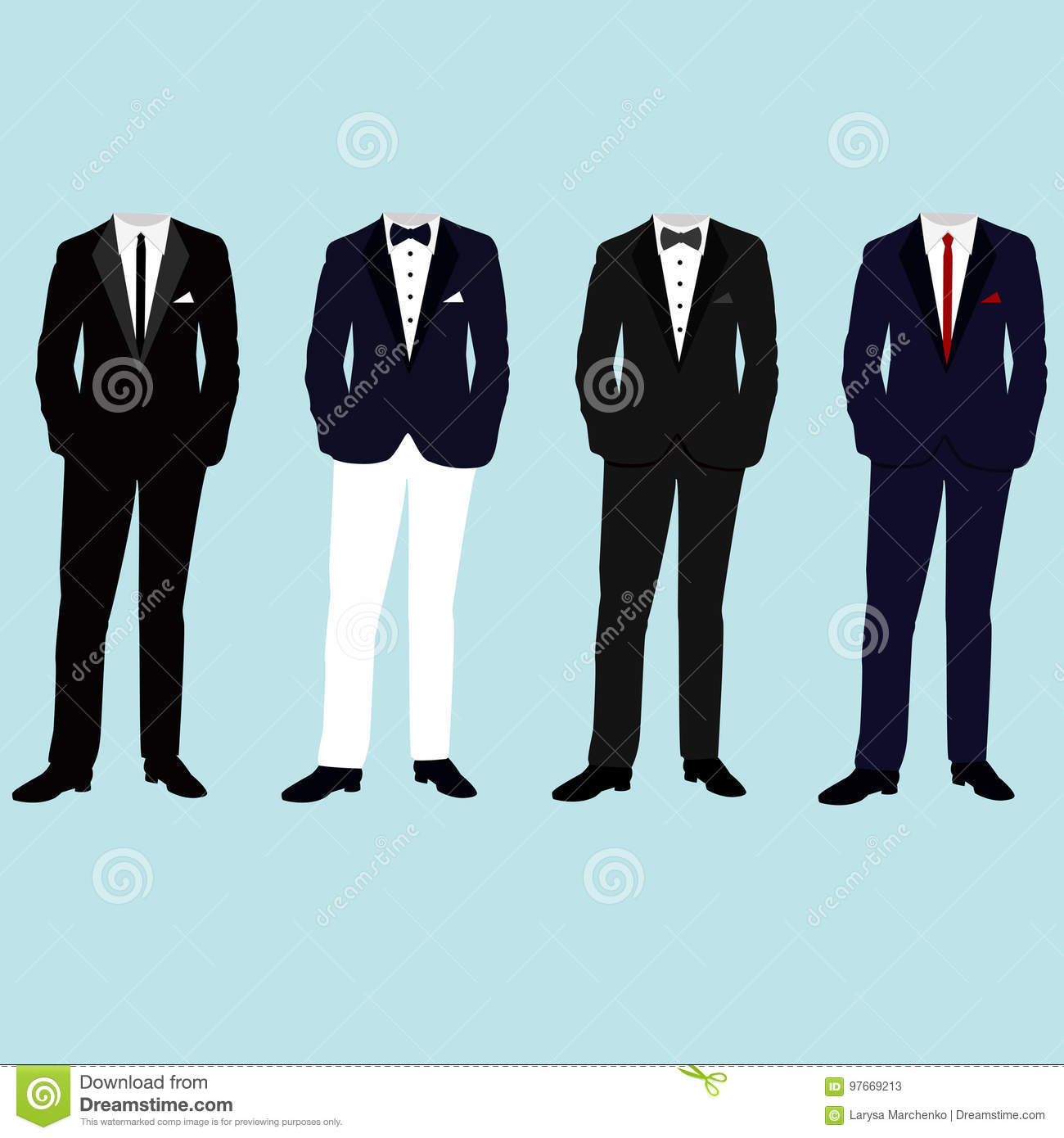 Wedding Mens Suits. Collection. Stock Vector - Illustration of gray ...