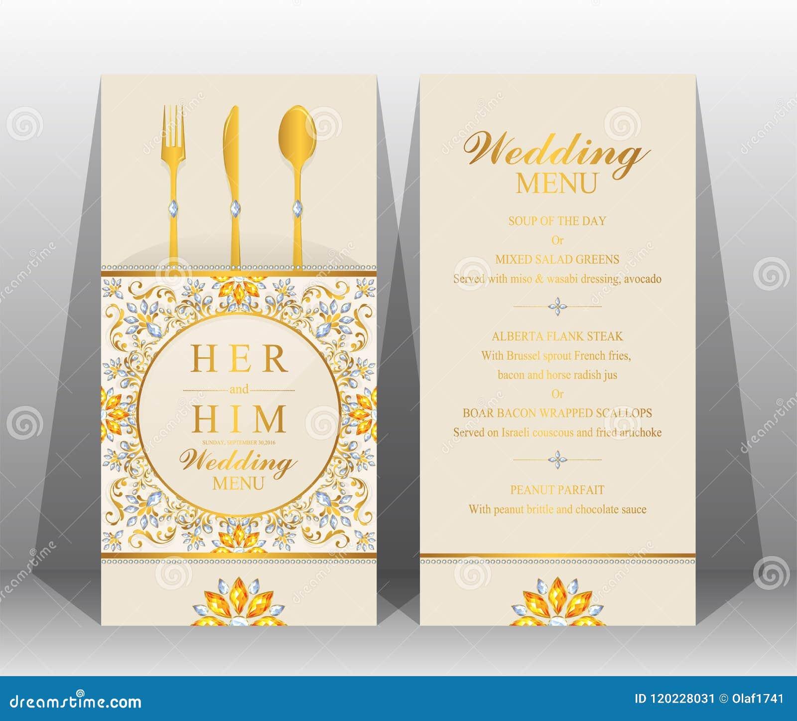 Wedding Menu Card Templates Stock Vector Illustration Of