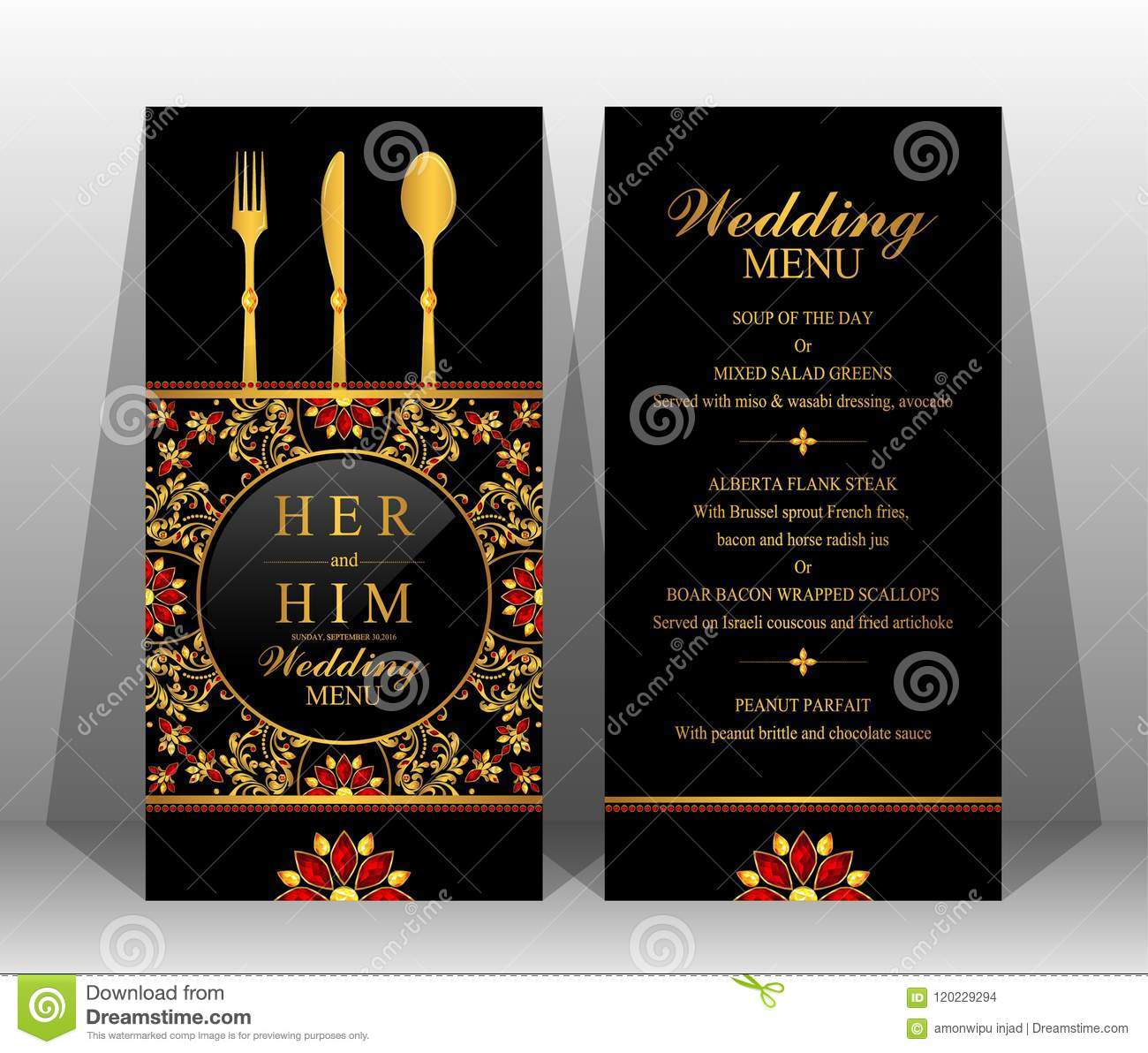 Indian Wedding Reception Food Menu: Wedding Menu Card Templates . Stock Vector
