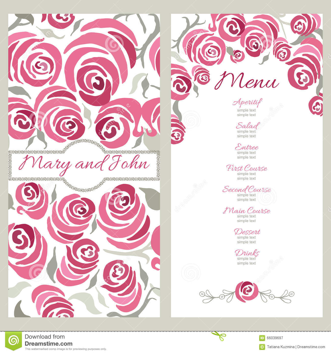 Wedding Menu Design With Hand Painted Roses Decorative Cards With