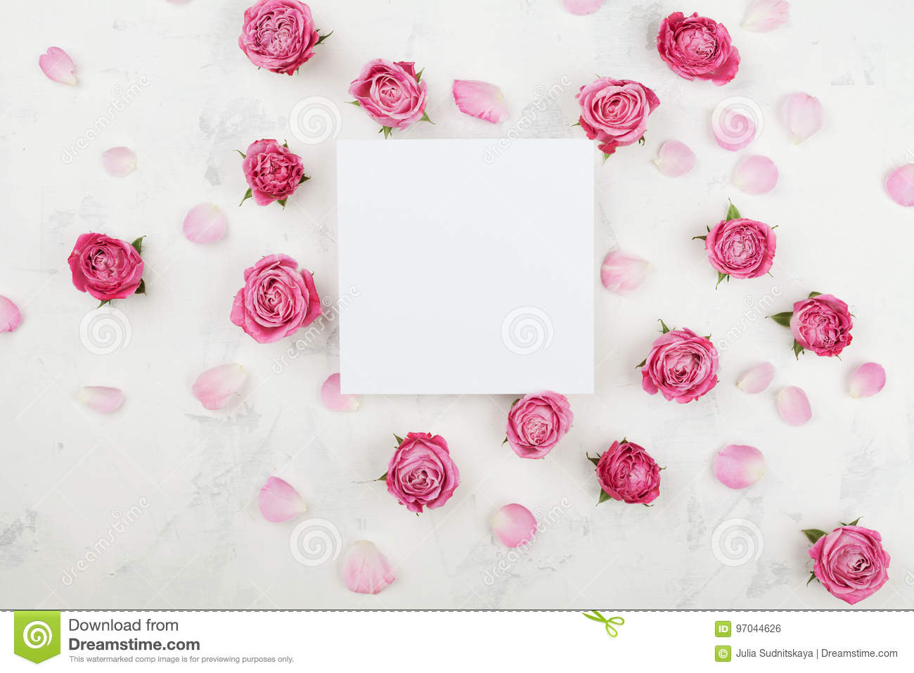 Wedding mockup with white paper list pink rose flowers and petals wedding mockup with white paper list pink rose flowers and petals on light table top mightylinksfo