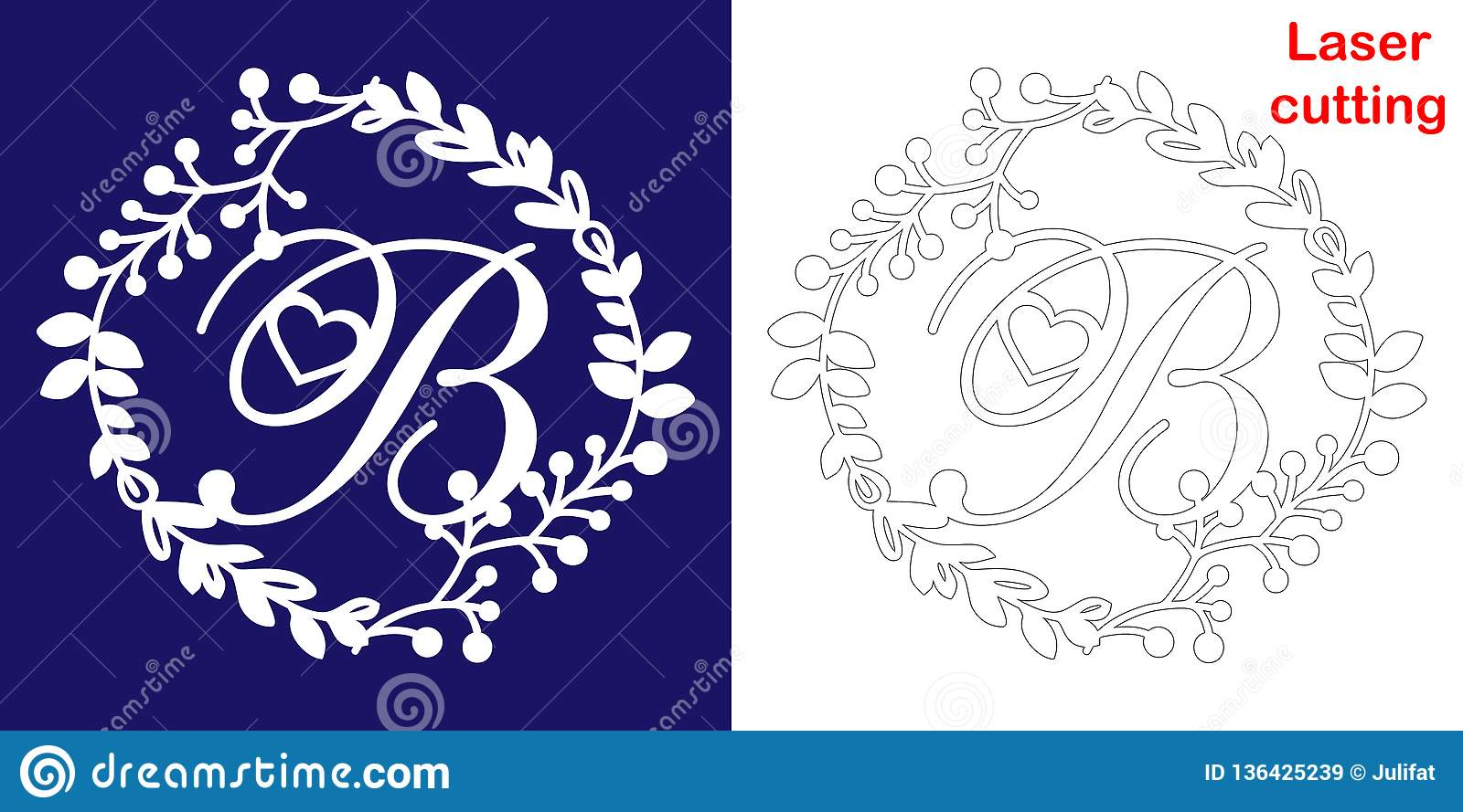 Wedding Monogram For Laser Cutting Letter B Of The Wedding