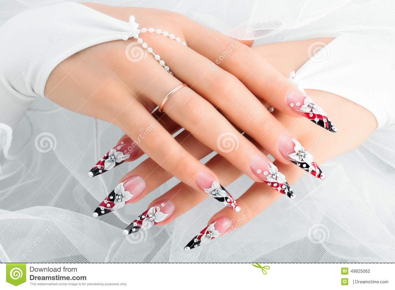 Wedding Nail Design Stock Photo Image Of Beautiful 49825062