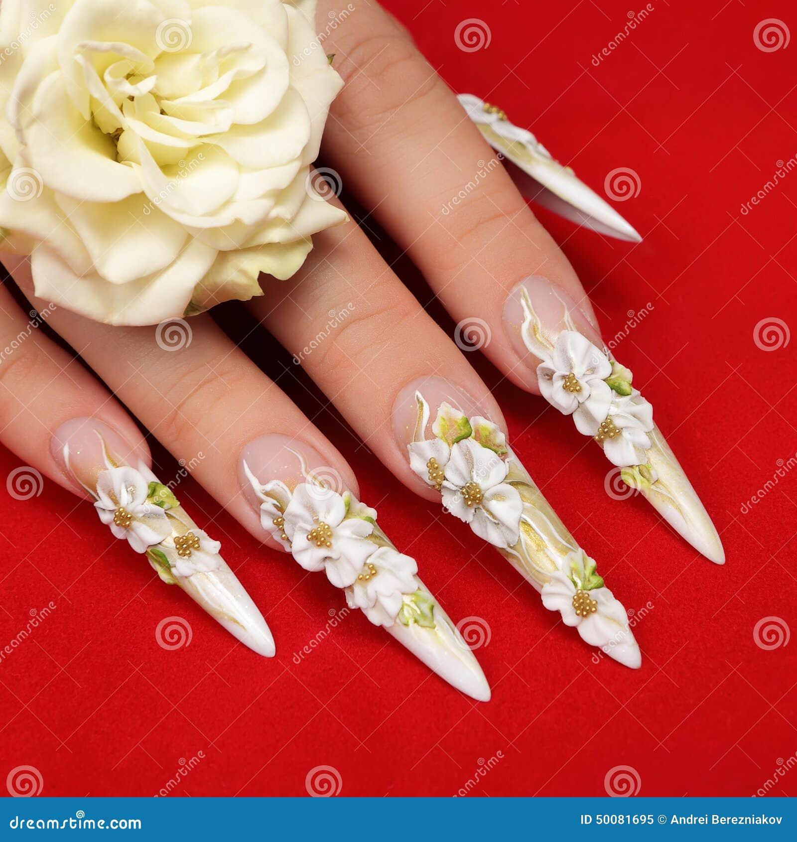 Wedding nails design. stock image. Image of decoration - 50081695