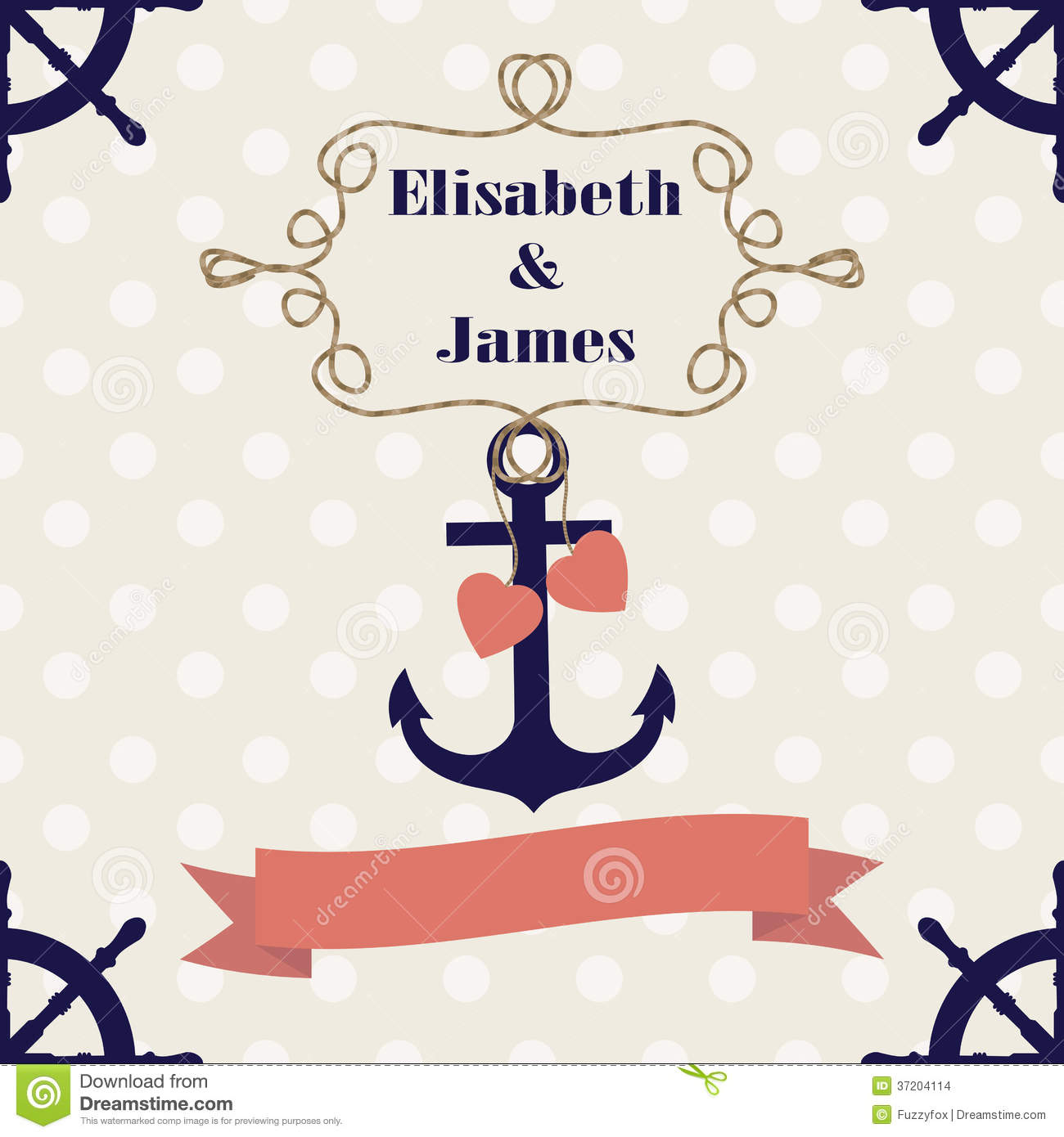Wedding Nautical Invitation Card With Anchor Stock Vector - Image: 37204114
