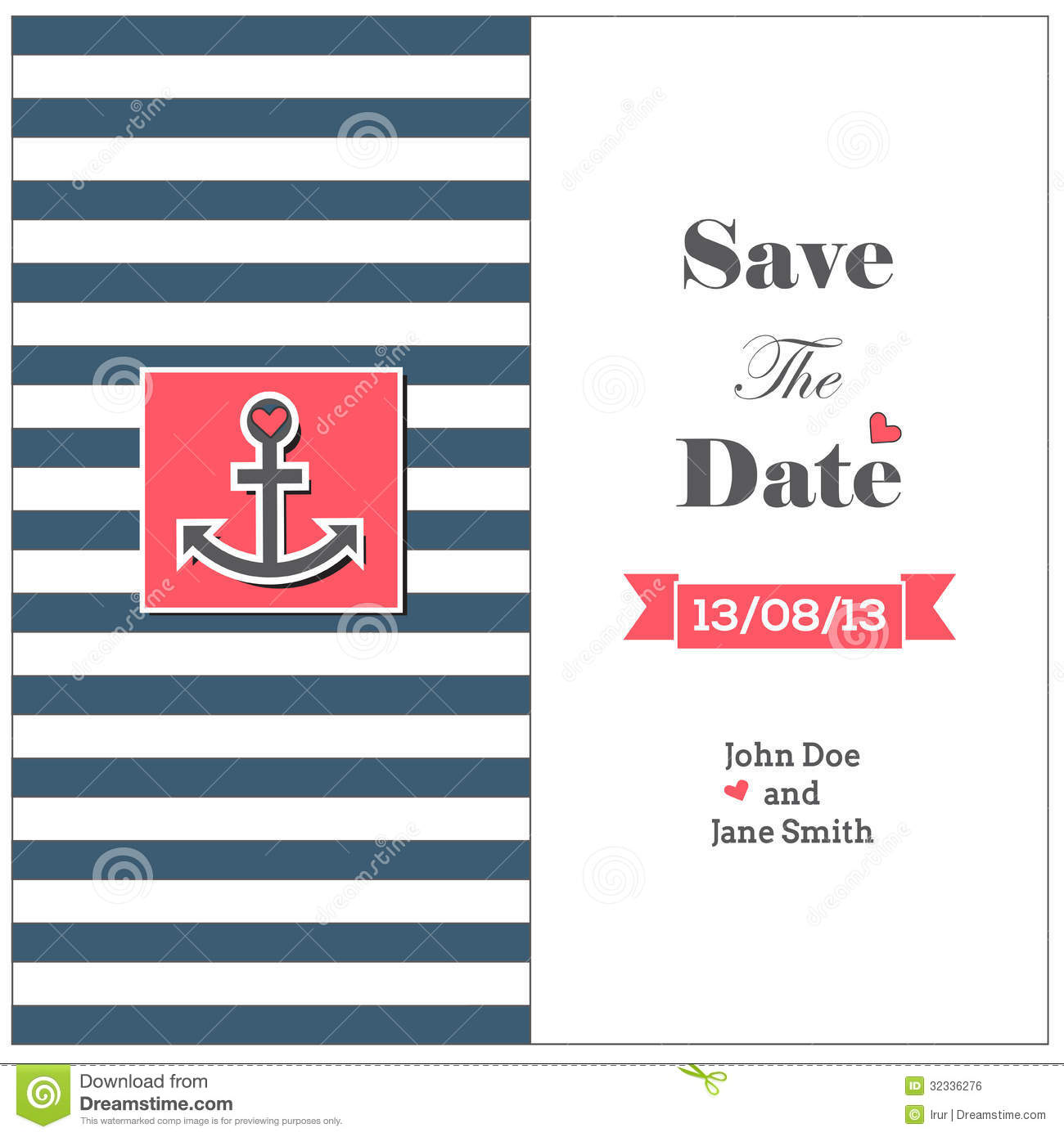 Wedding Nautical Invitation Card With Anchor Royalty Free Stock Image - Image: 32336276
