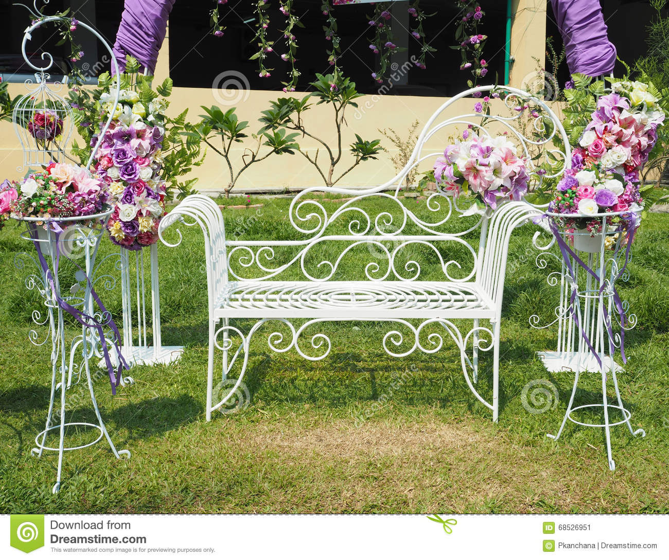 Wedding Outdoor Party Decoration Stock Image - Image of seat ...
