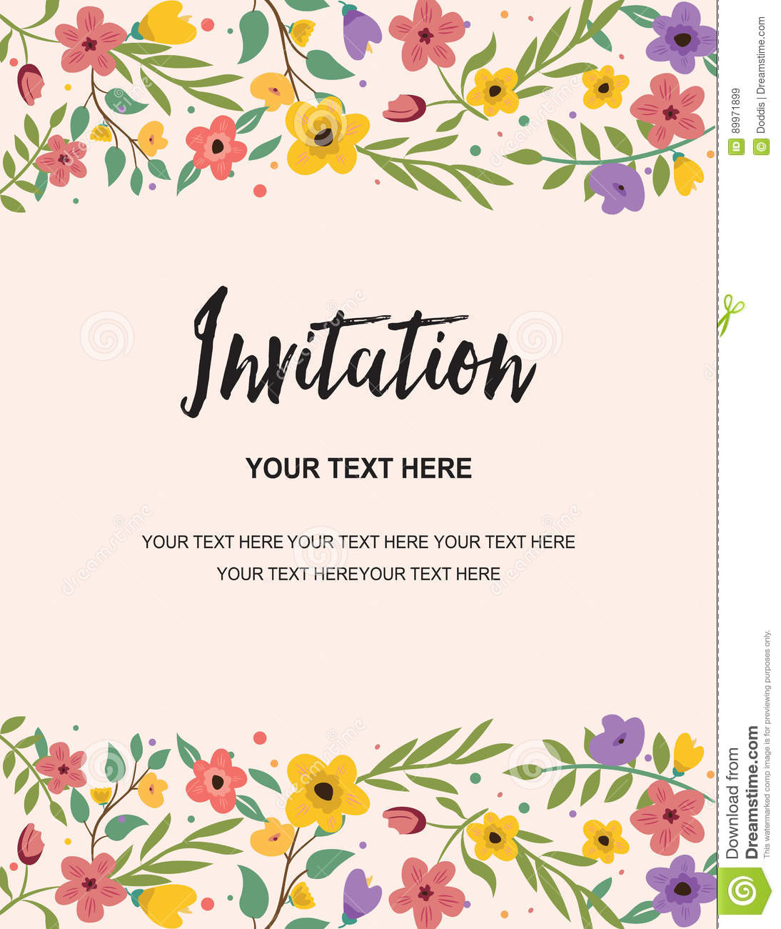 Wedding Party And Anniversary Invitation Card Template