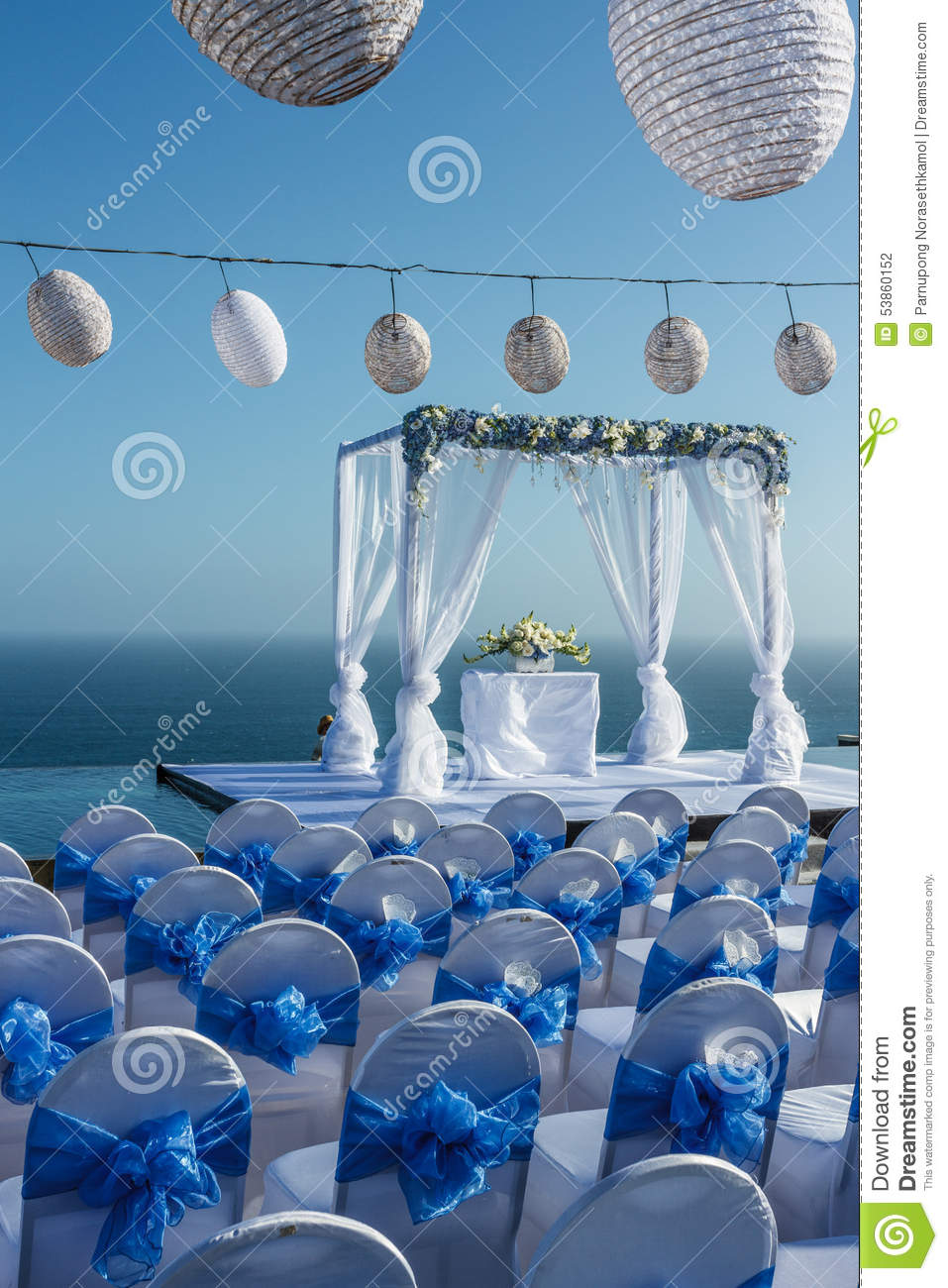 Wedding Party In Blue And White Theme Stock Photo Image Of Party