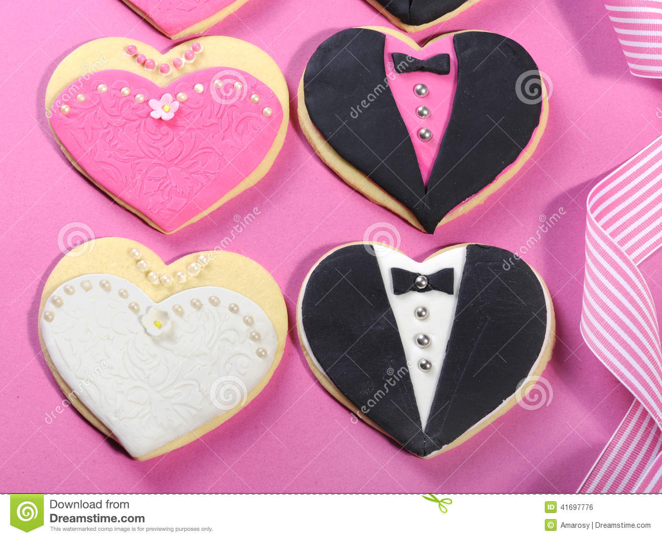 Wedding Party Bridal Cookie Favors Close Up Stock Photo - Image of ...