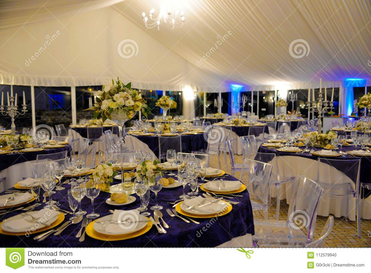 Wedding Banquet Tables Decoration Dinner Party Event Stock