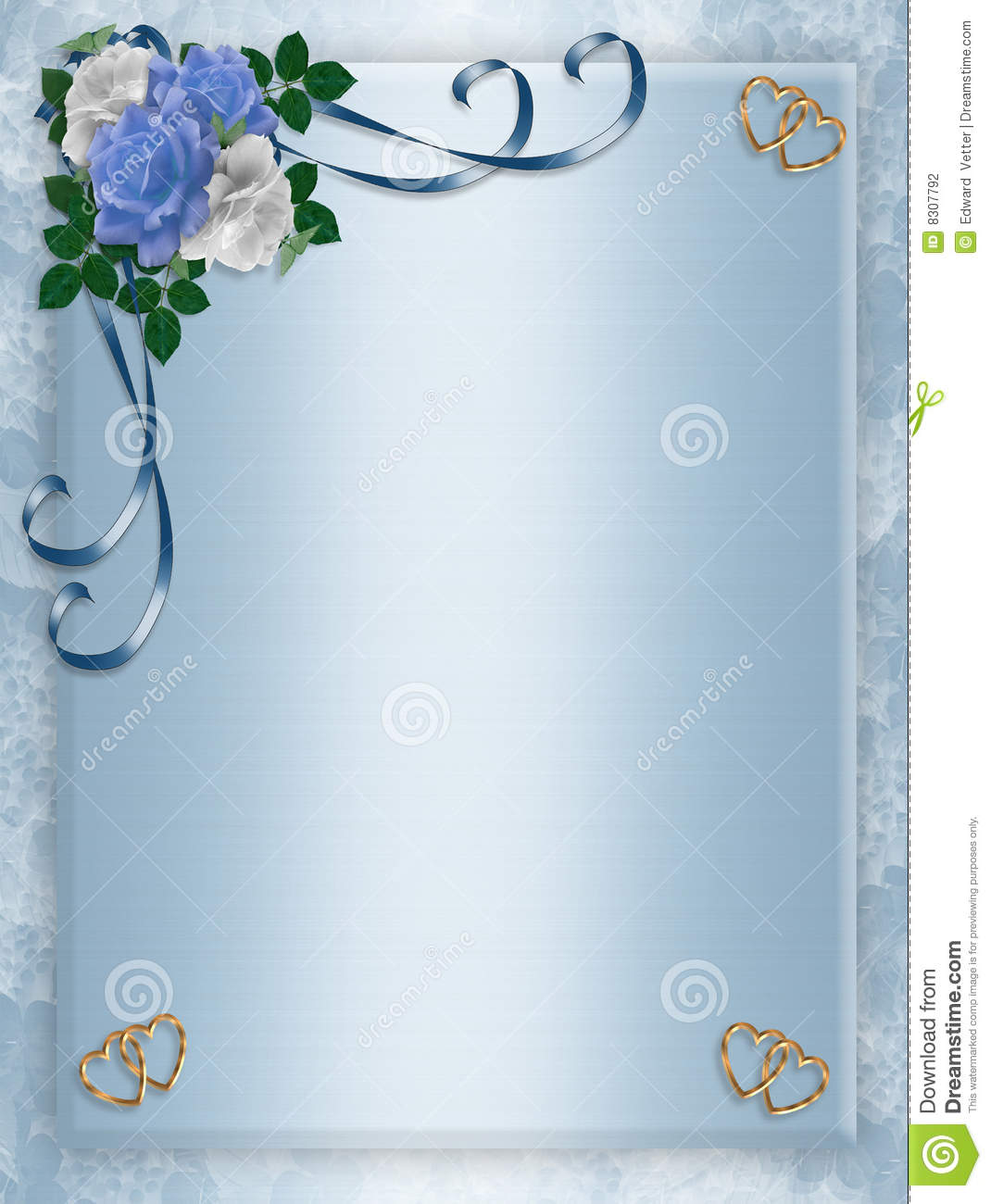 wedding  party invitation blue roses stock photography