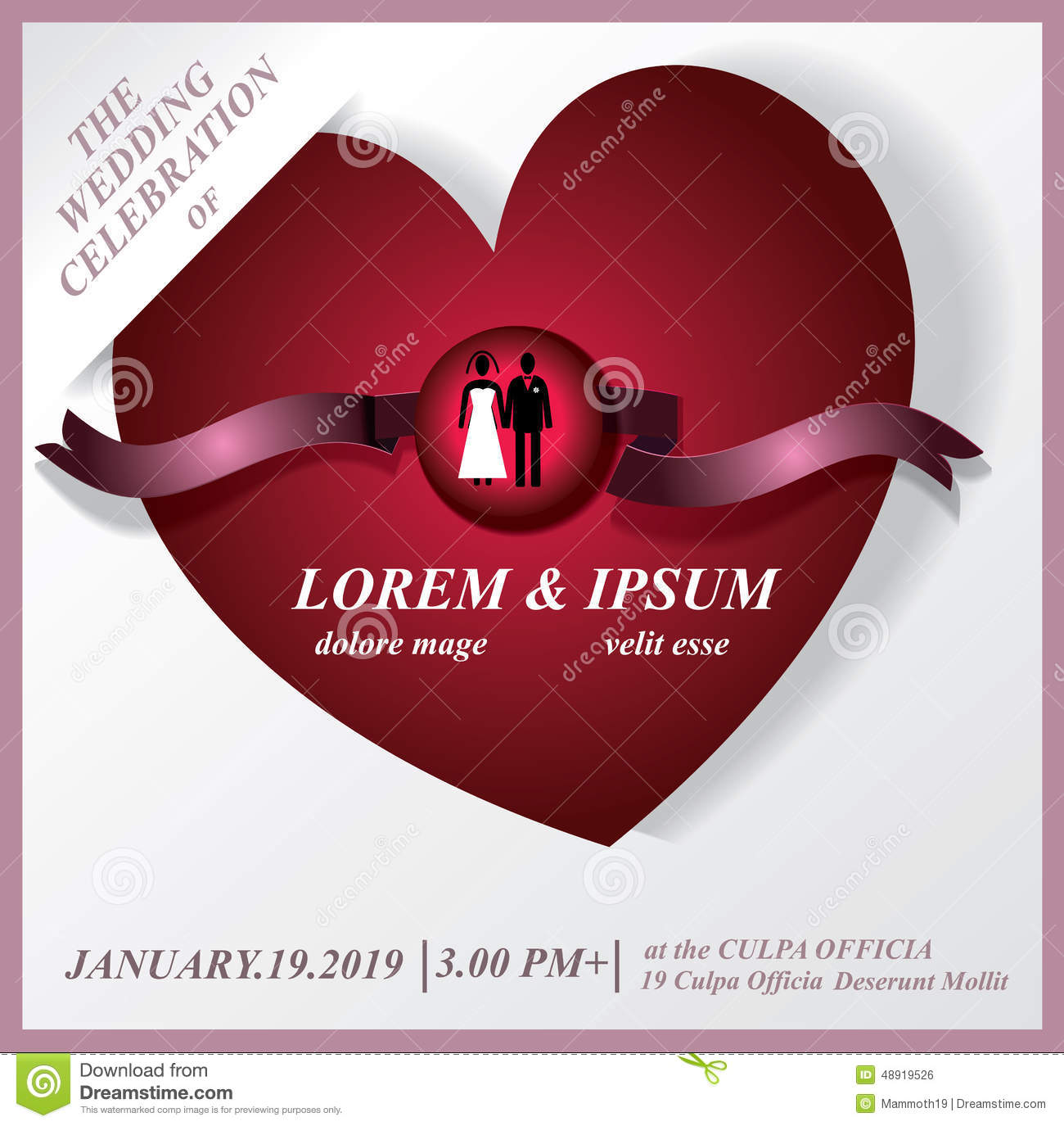 Wedding Party Invitation Card.Red Heart Template And Icon Weddin ...