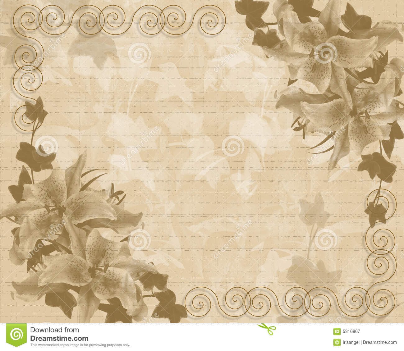Wedding Or Party Invitation Floral Template Stock Illustration