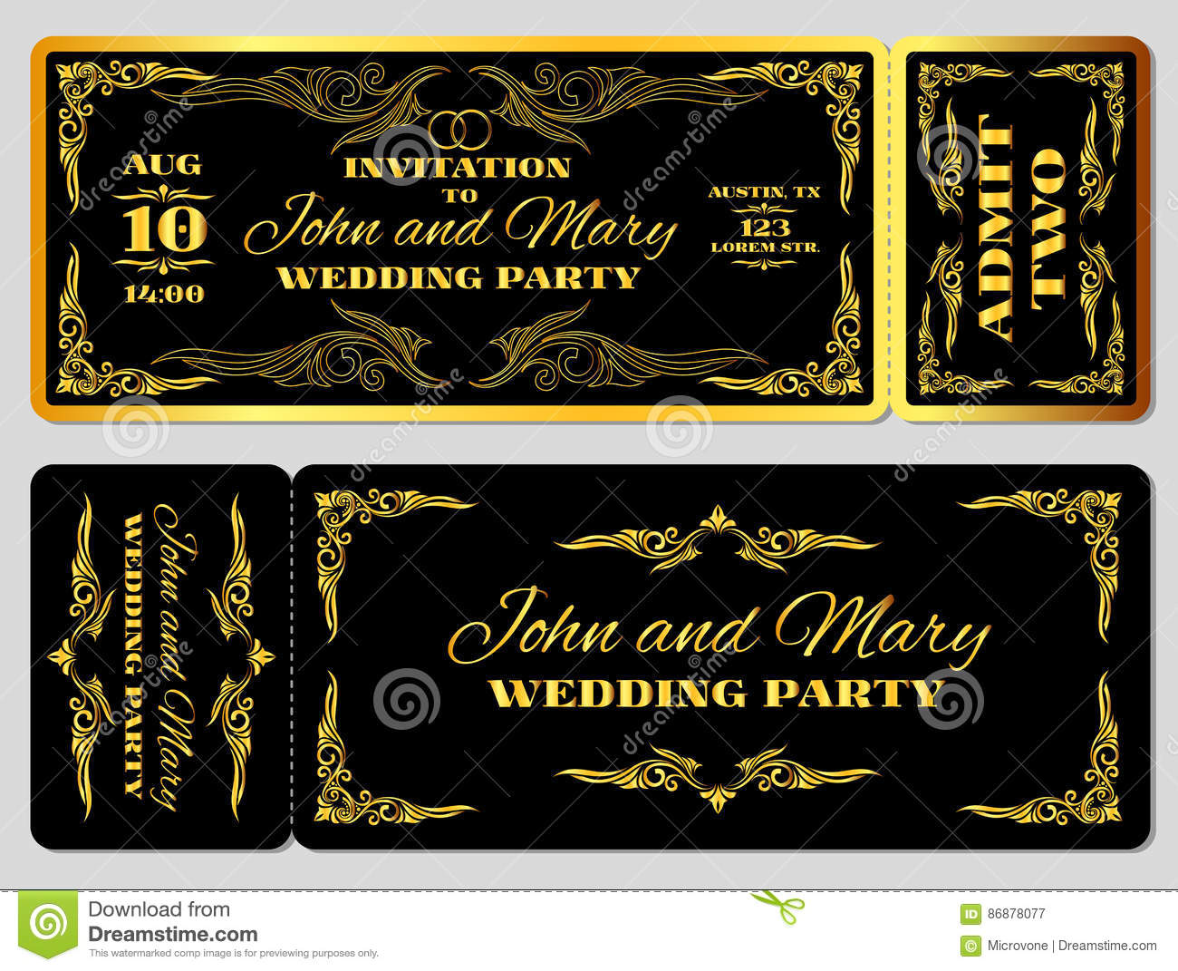 wedding party invitation template in golden black stock vector
