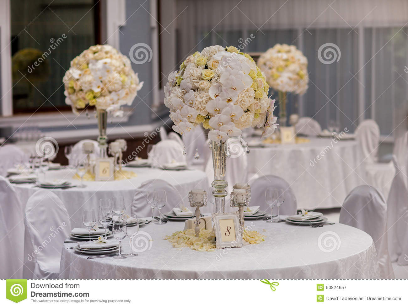 Wedding party table decorations stock image image of for Wedding party table decorations