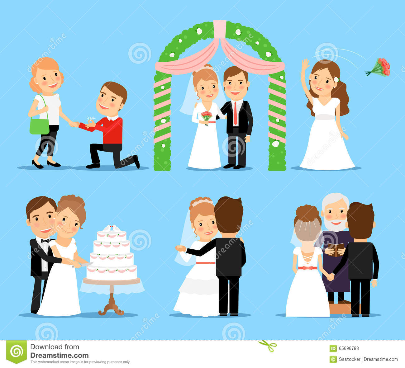 Wedding Party Vector Characters Stock Vector Illustration Of