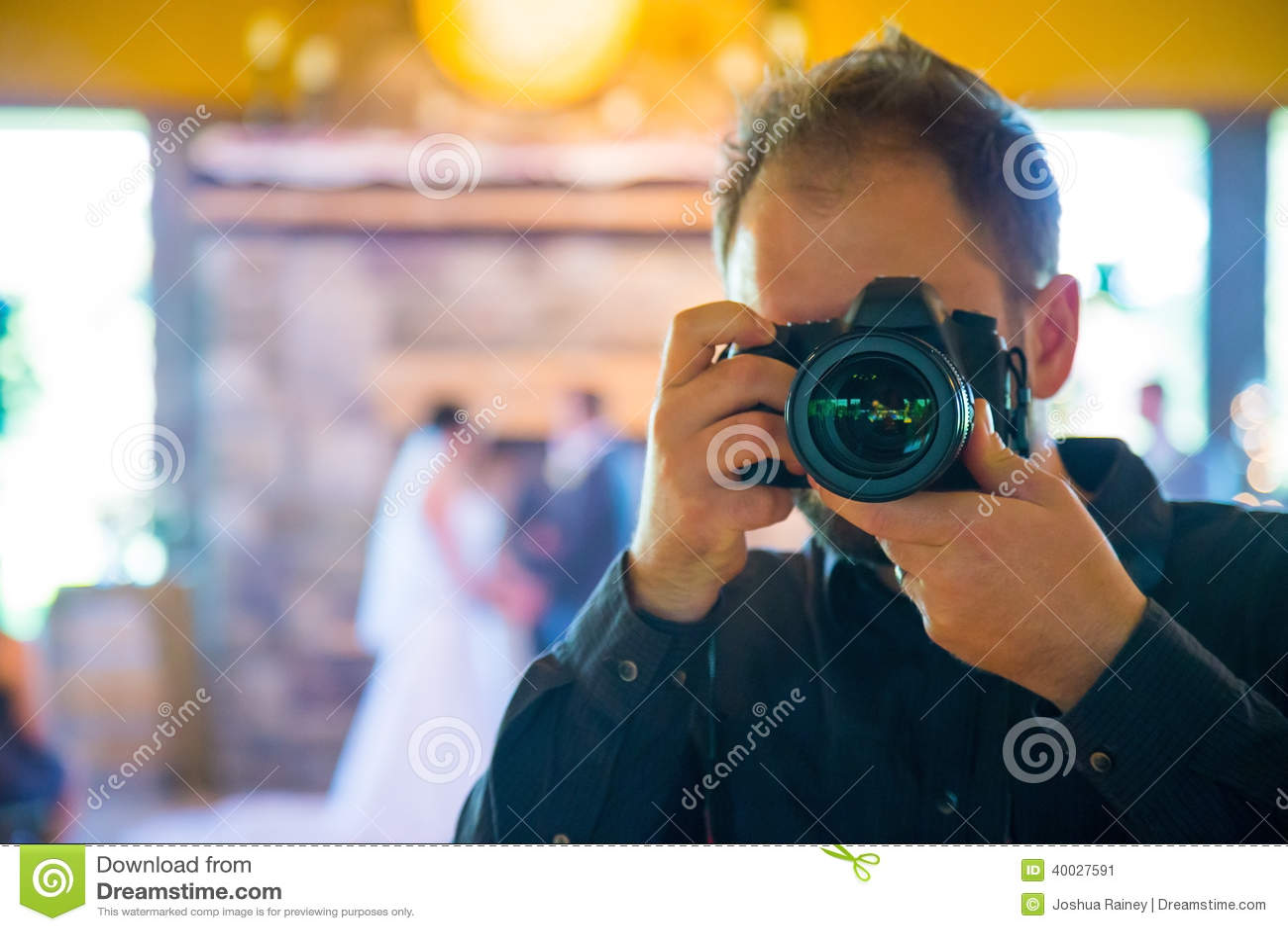 stock image wedding photographer self portrait dslr professional lens shooting photos bride groom ce