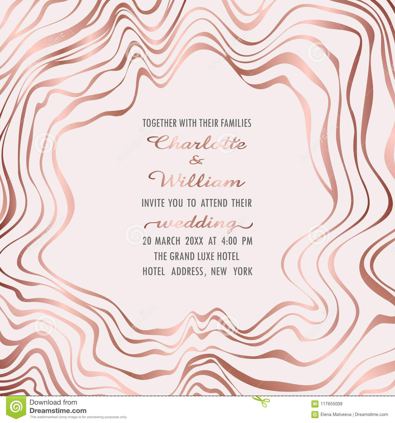 b459ced721d8 Wedding invitation card with pink gold waves frame on gentle pink background.  Fashion greeting invite