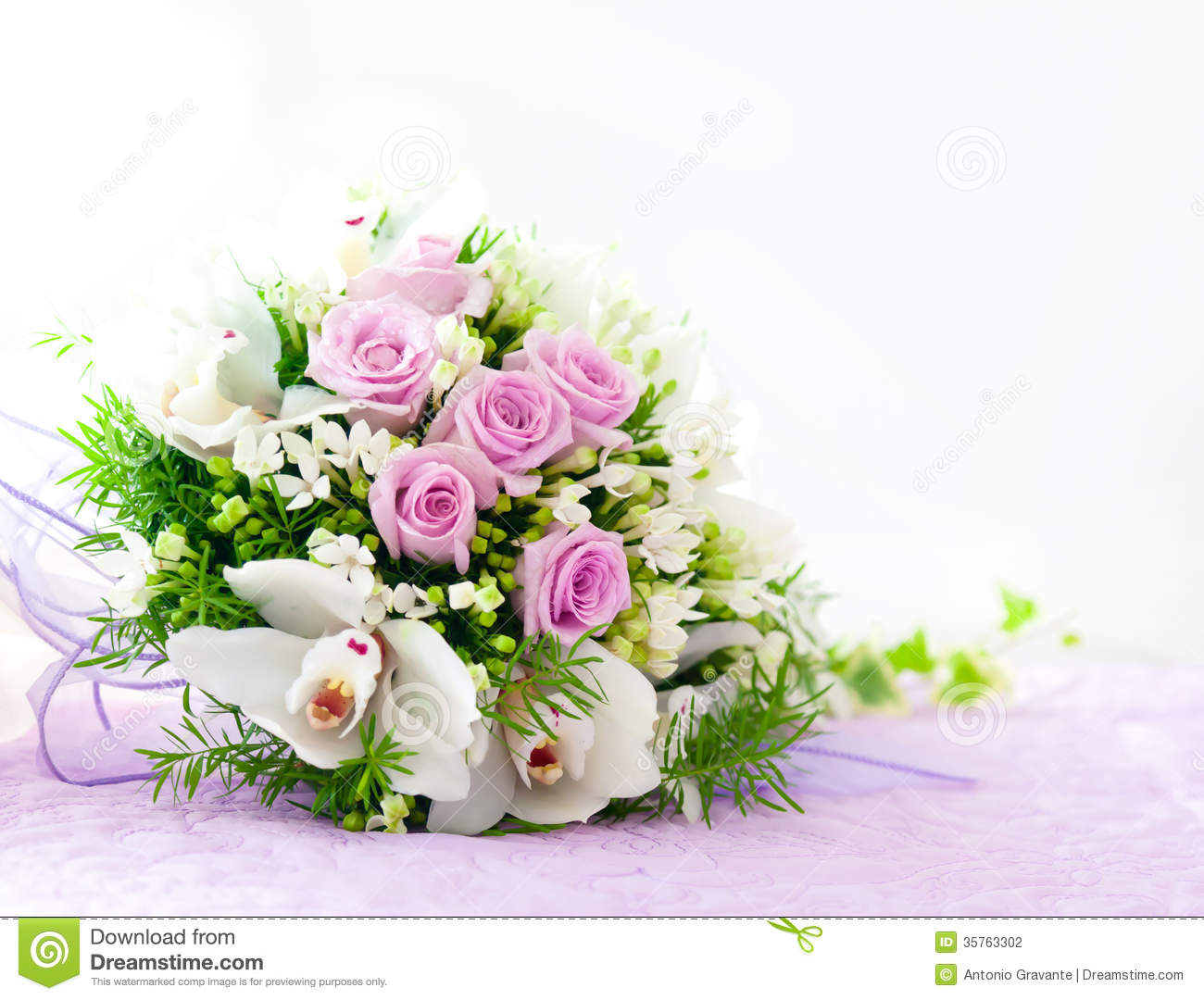Wedding Pink Roses And White Orchid Bouquet Stock Photo ...