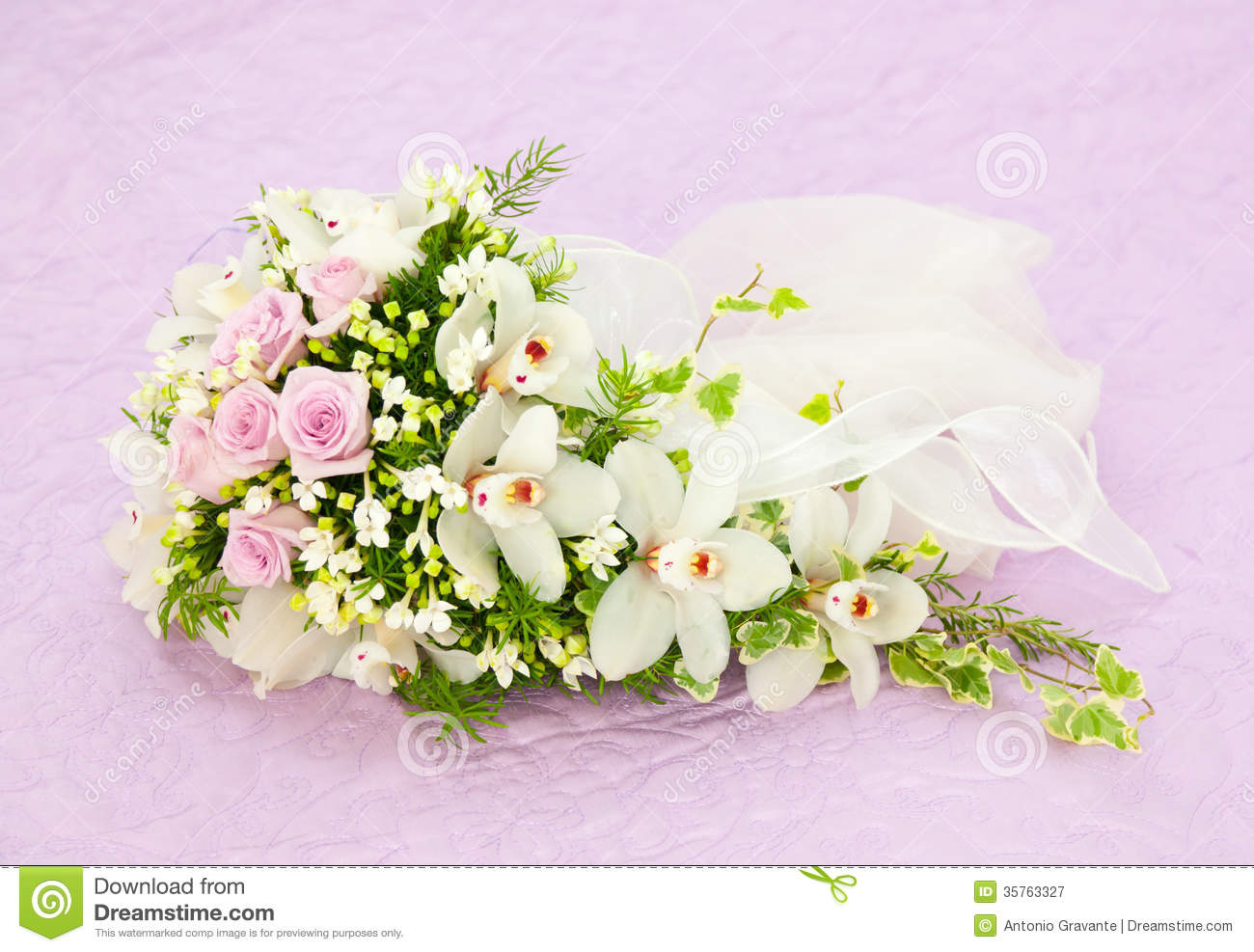 Wedding Pink Roses And White Orchid Bouquet Stock Image ...