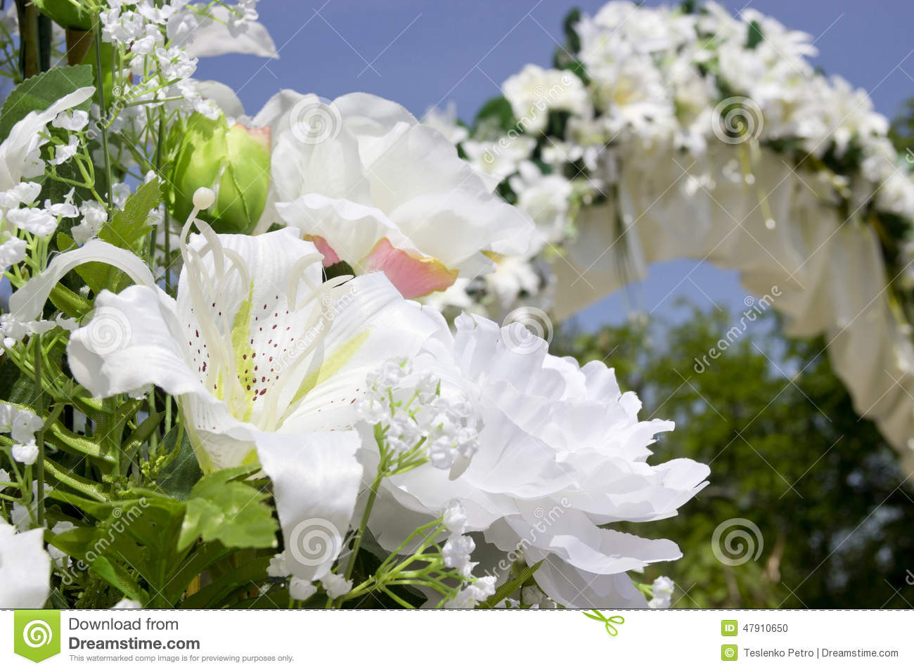 Close Up Wedding Place Decoration With Artificial Flowers