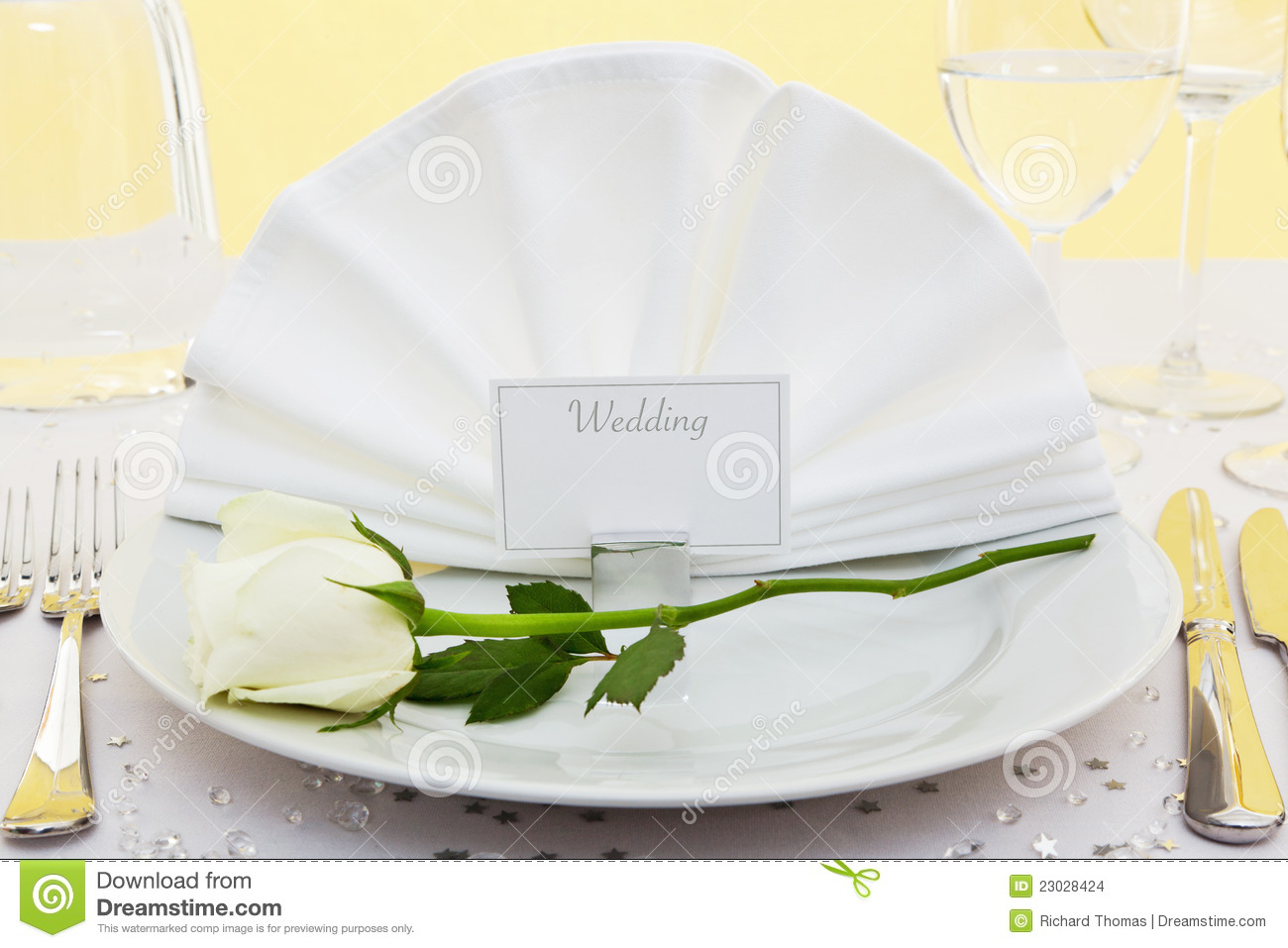 Wedding Place Setting With White Rose Stock Images