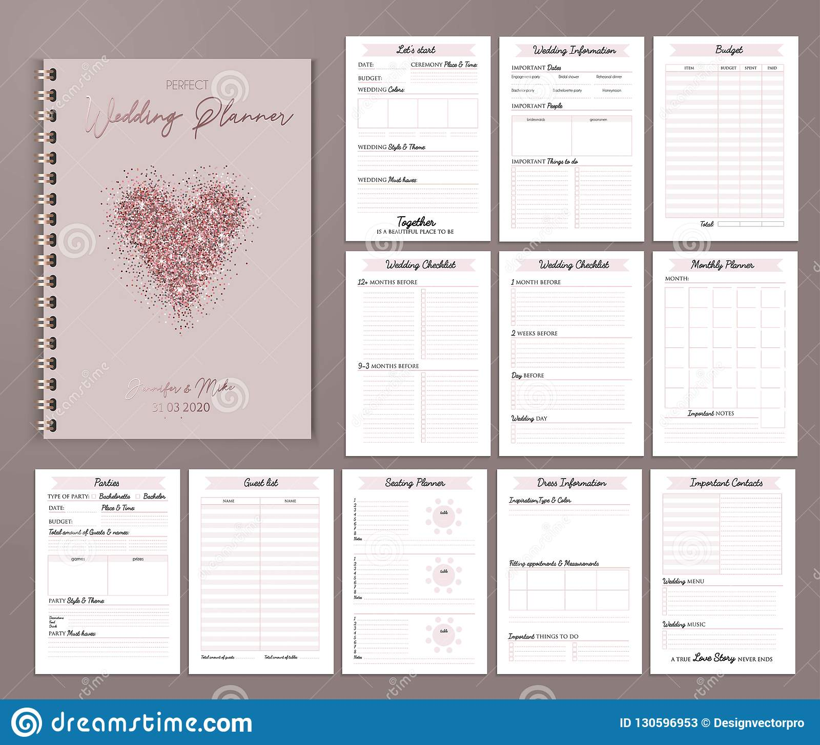 graphic regarding Party Planner Printable titled Marriage Planner Printable Layout With Checklists, Substantial
