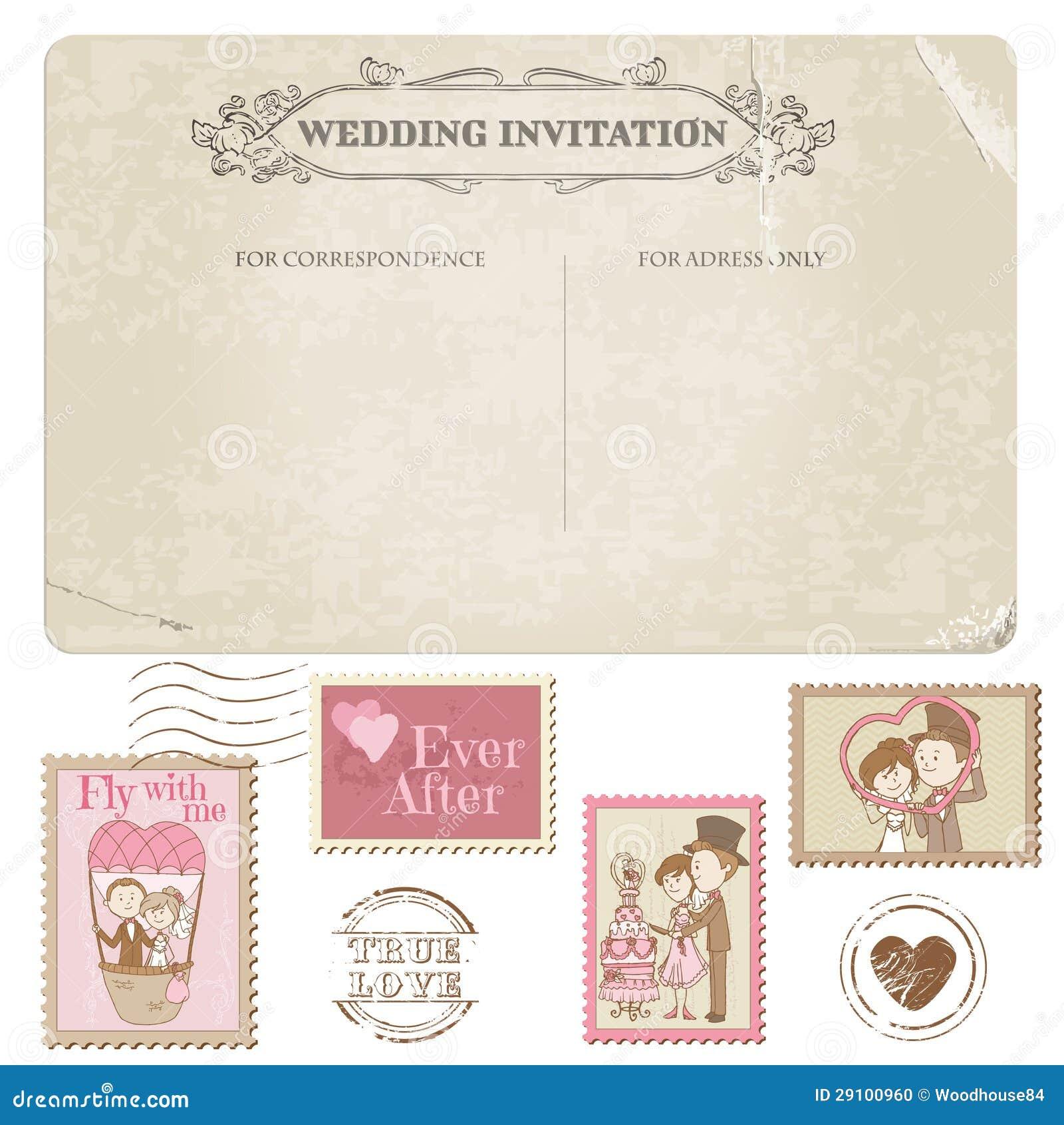 Wedding Postcard And Postage Stamps Stock Photo