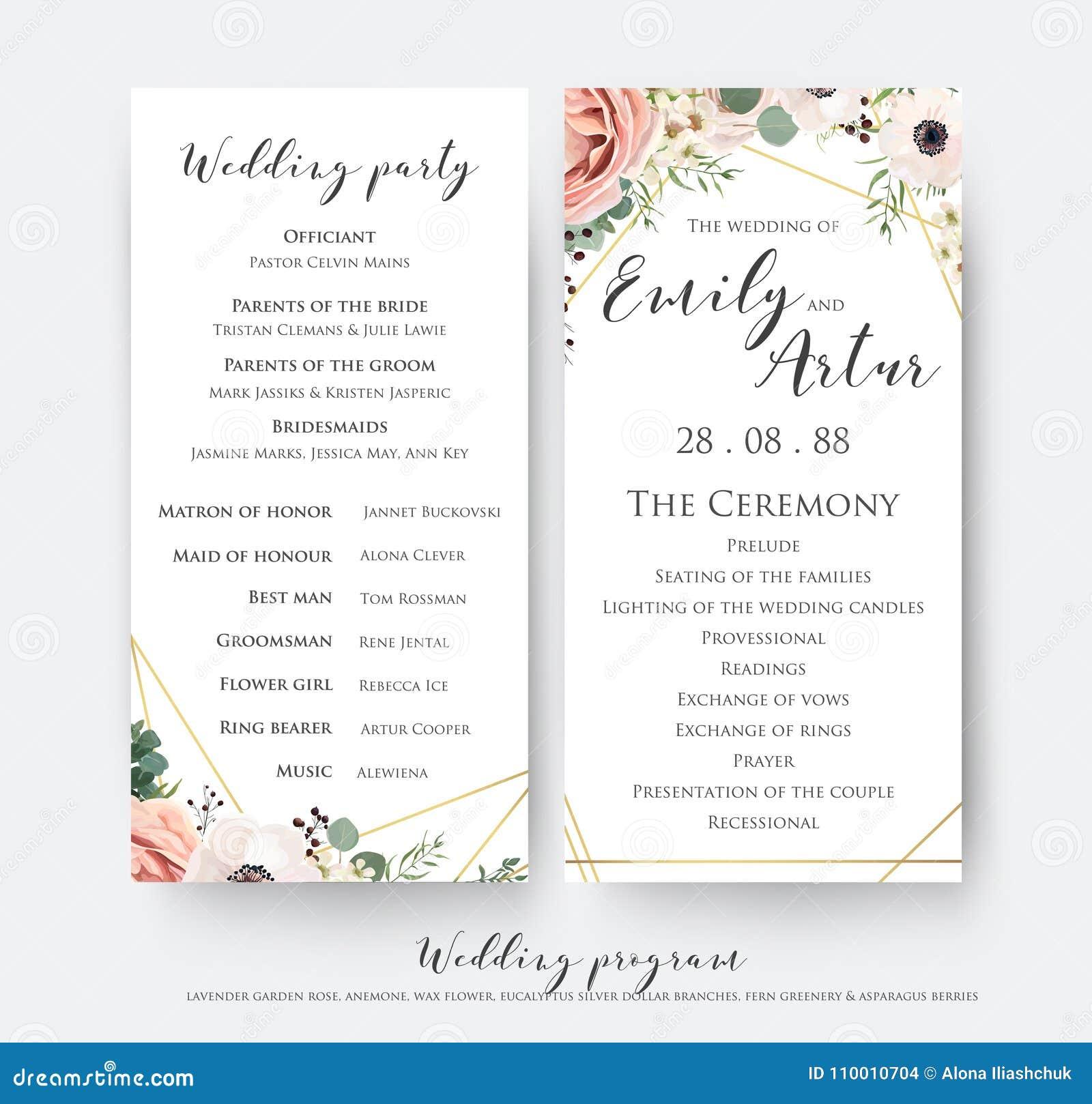 Wedding Program For Party Ceremony Card Design With Elegant La