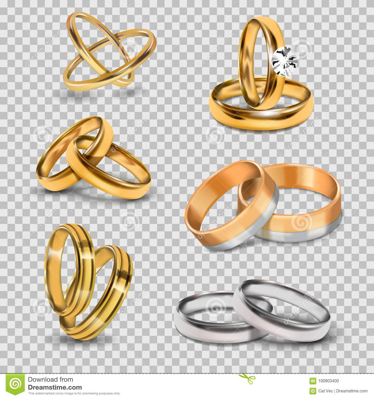 4bfc127a88 Wedding realistic 3d couples rings gold and silver metal romantic jewelry  accessory isolated vector illustration.