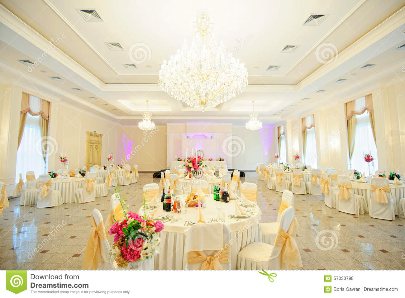 Wedding Reception Area Ready For Dinner Stock Photo Image Of