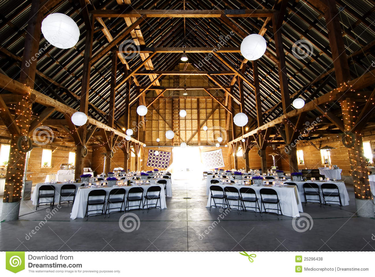 Indoor Wedding Venue Royalty Free Stock Photo: Wedding Reception At Barn Stock Photo. Image Of