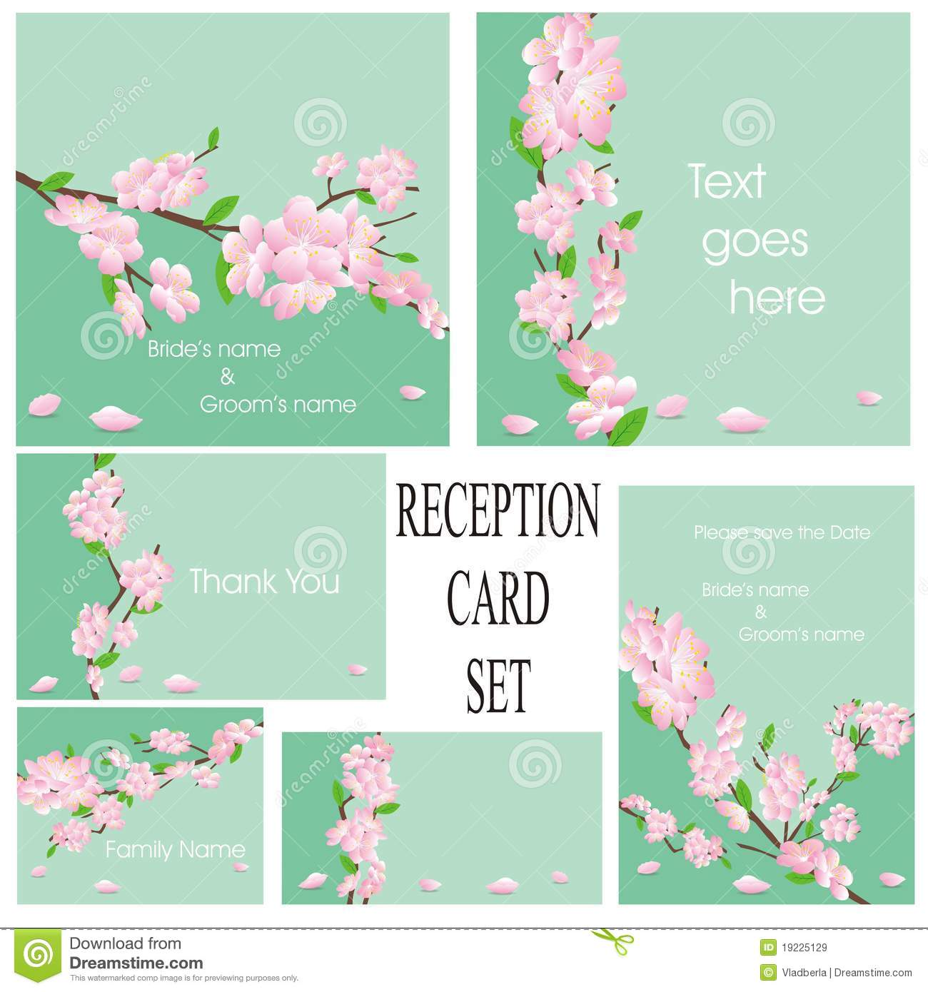Wedding Or Reception Card Set In Green Royalty Free Stock Images