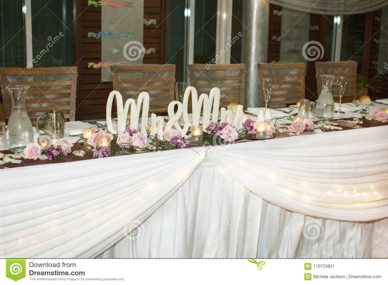 Wedding Reception Decor And Set Up Stock Image - Image of letters ...