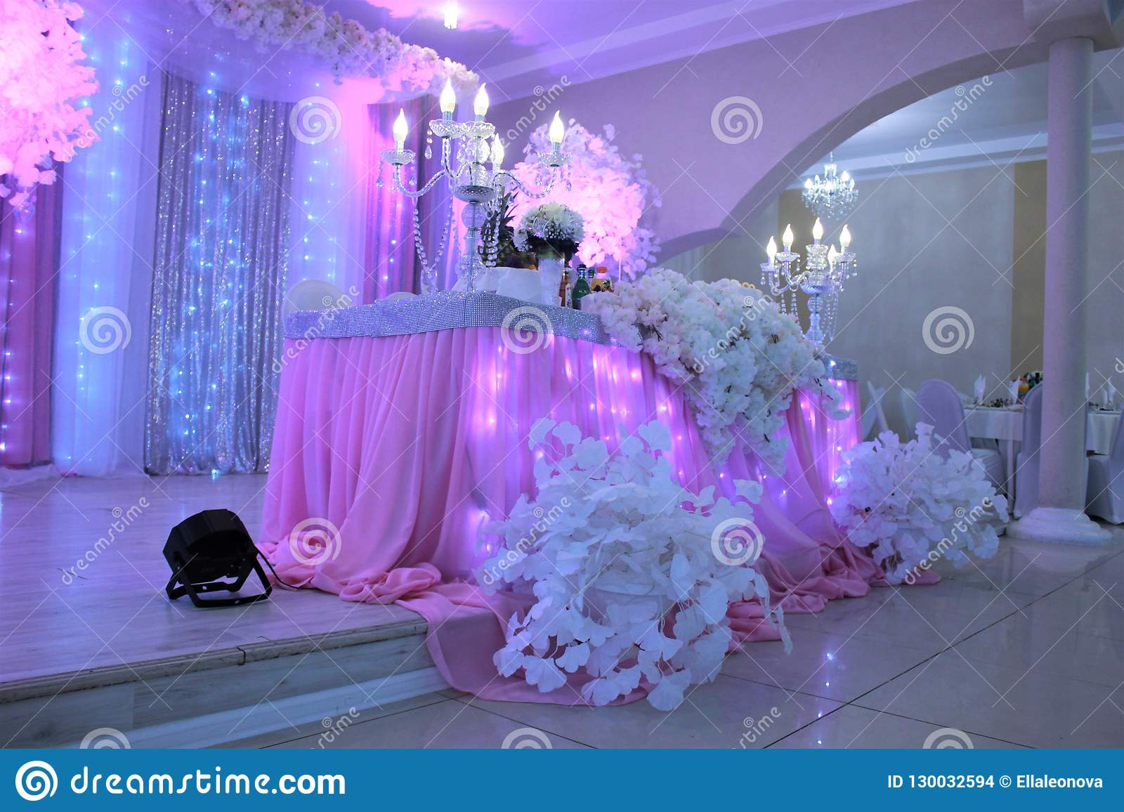 Wedding Reception Decoration In White And Pink Colours Stock Photo