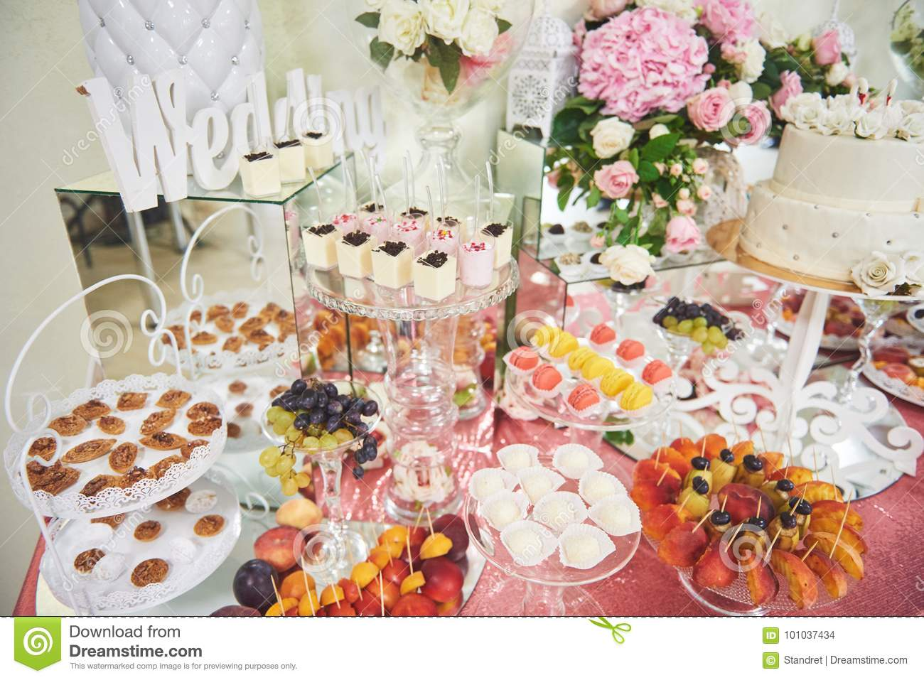Delicious Sweets On Candy Buffet Stock Photo Image Of Food