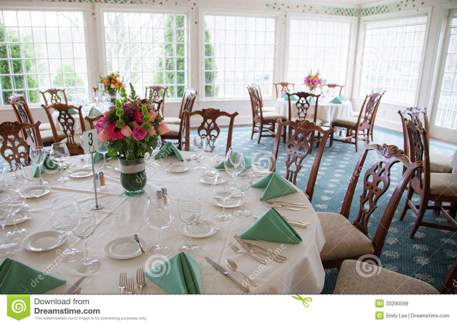 Wedding Reception Dining Room Stock Image