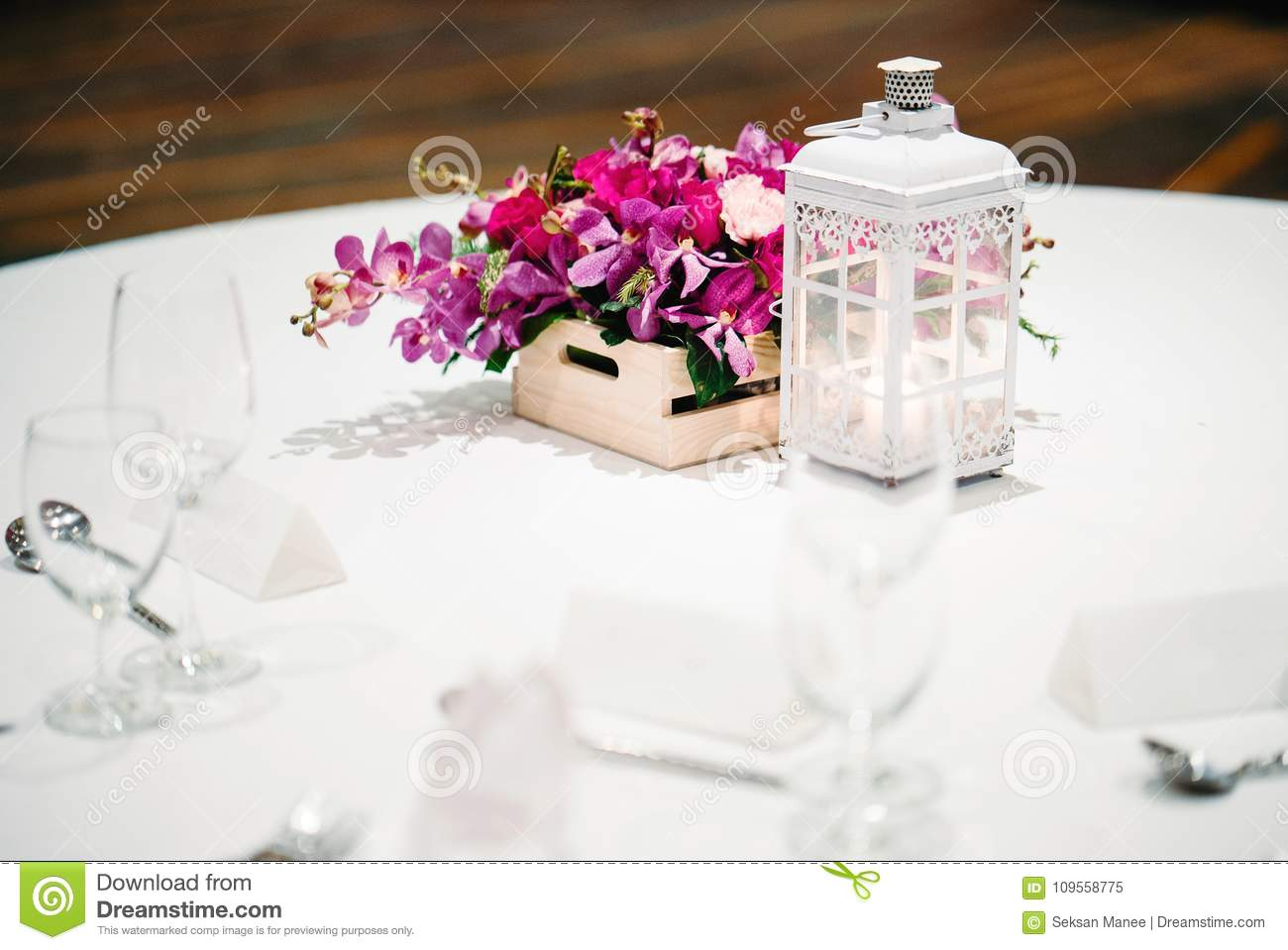 Reception Dinner Table Decoration, Orchids, Flowers, Candles Stock ...