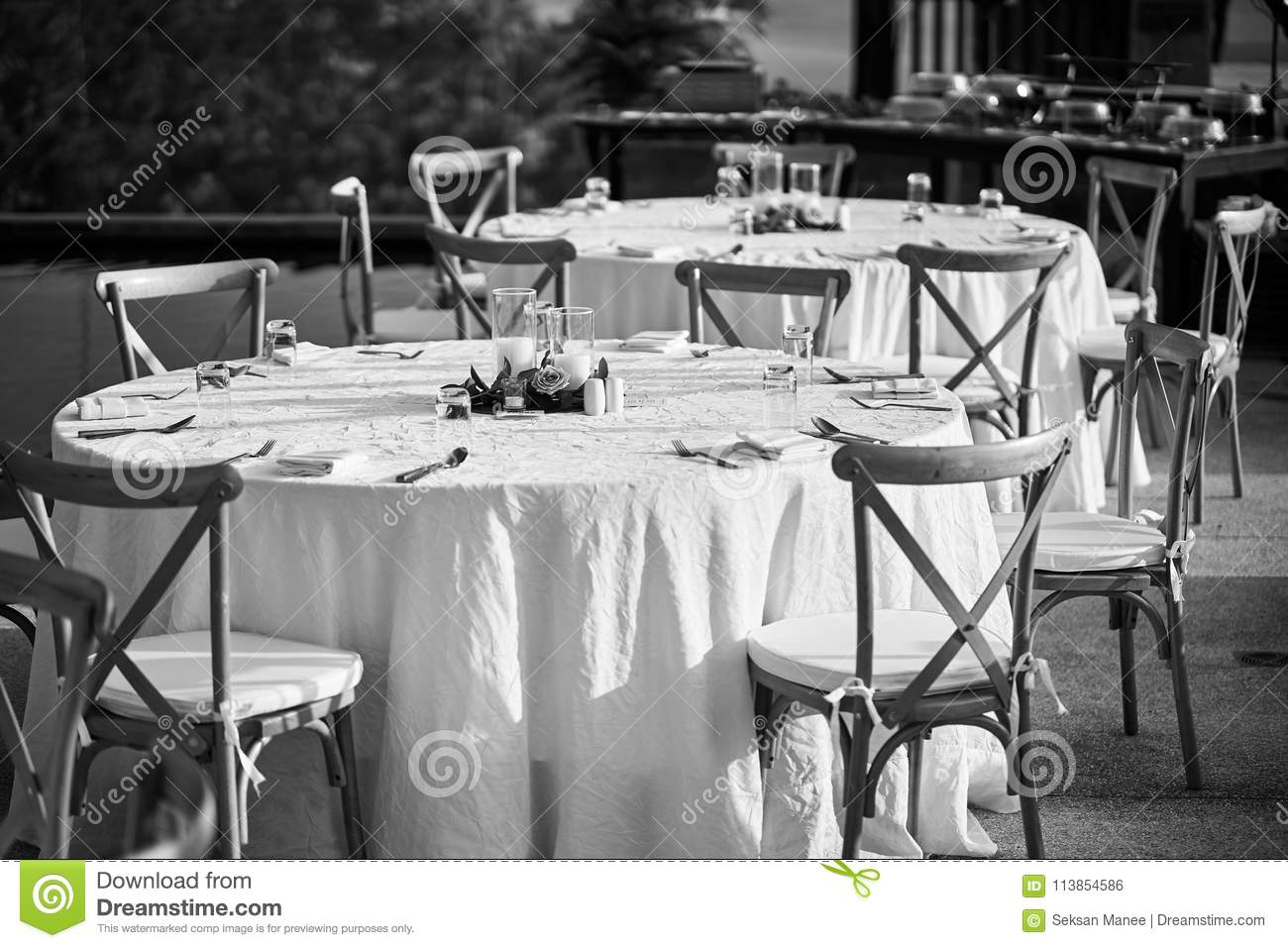 Wedding Reception Dinner Table Setting With Folding Lawn Chairs In Black And White Stock Photo Image Of Petals Decoration 113854586