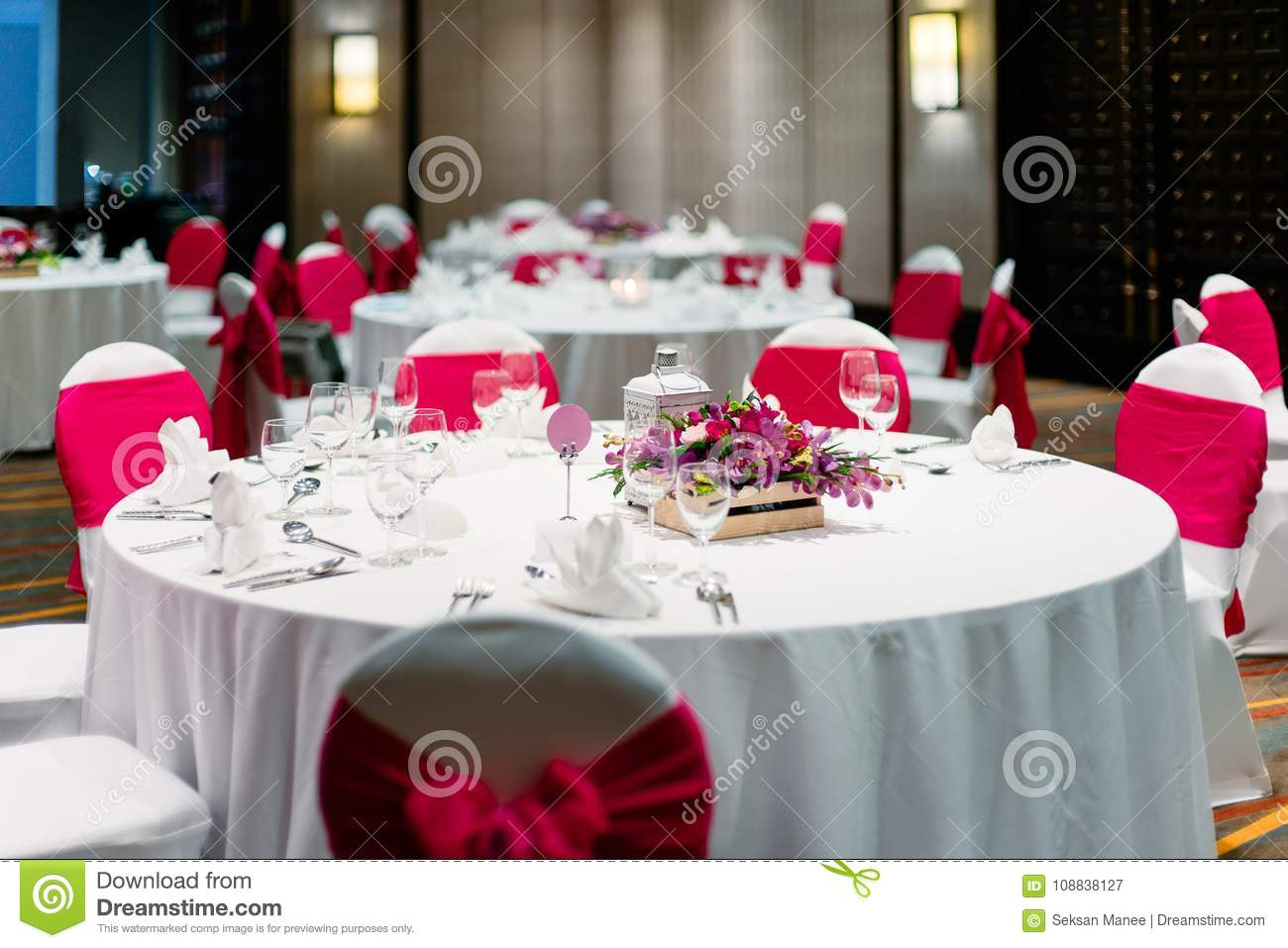 The Wedding Reception Dinner With White And Red Theme, The Candle, Dinner  Room.