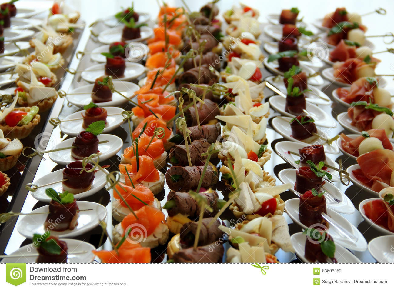 Wedding reception food canape set ctock photo stock photo for Canape reception