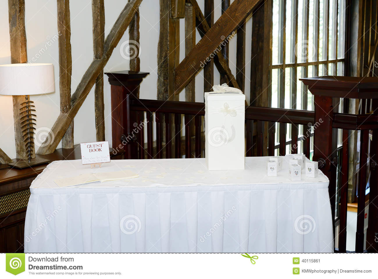 Wedding Reception Gifts For Guests: Wedding Reception Gift Table Stock Photo