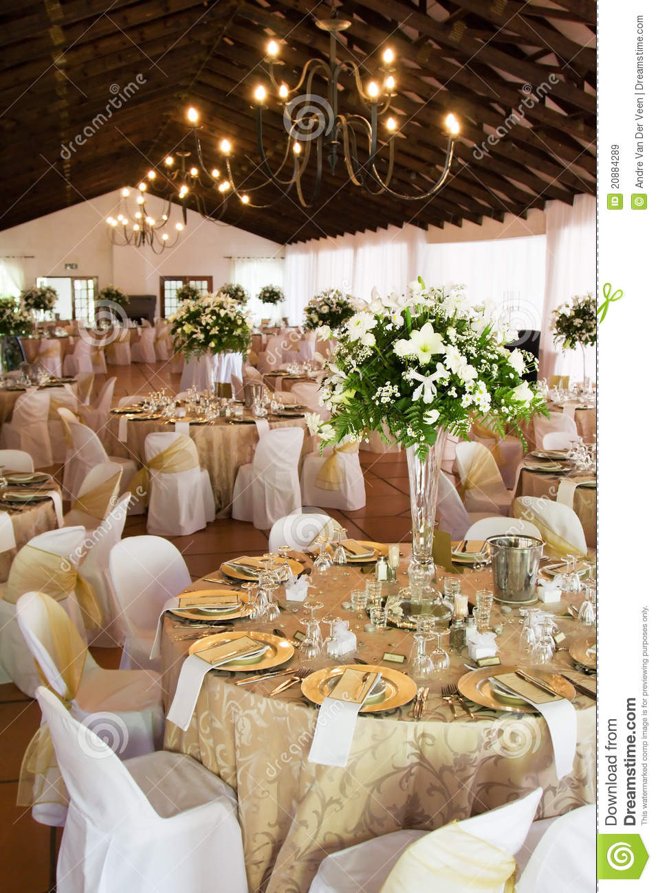 Wedding Reception Hall With Laid Tables Royalty Free Stock