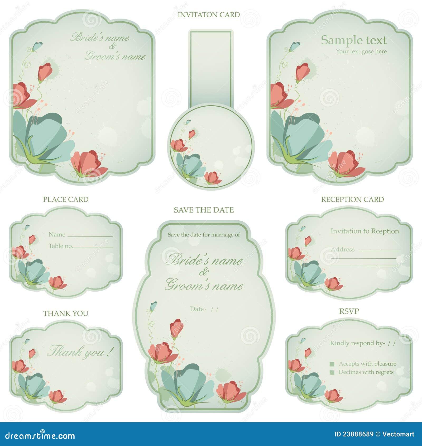 Wedding Reception Invitation Card Stock Vector