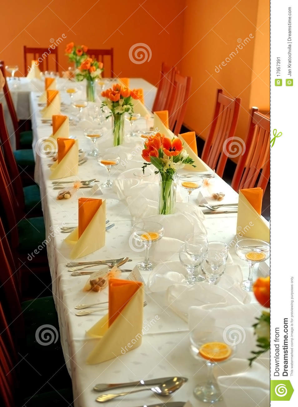 Wedding Reception In Orange Stock Image Image Of Guest Dining